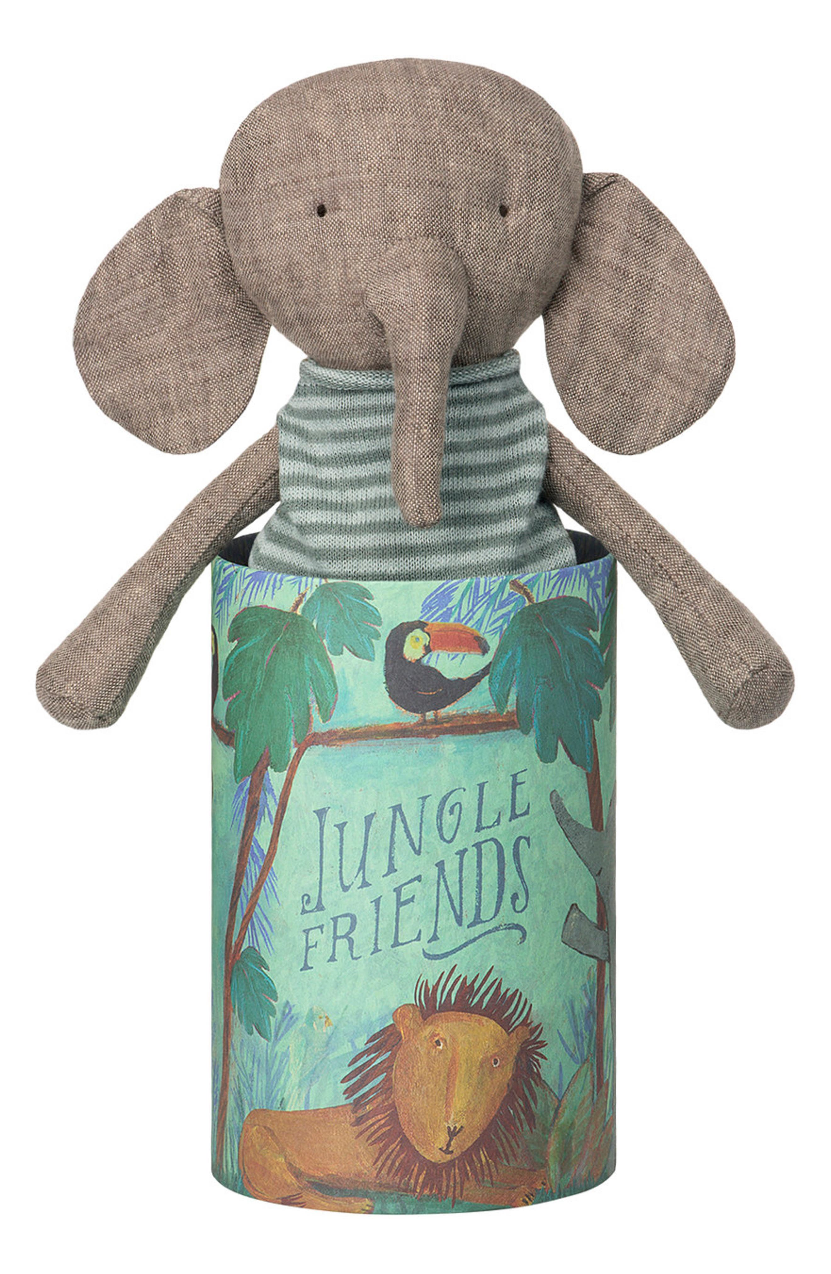 Jungle Friends Stuffed Elephant,                             Main thumbnail 1, color,                             GREY