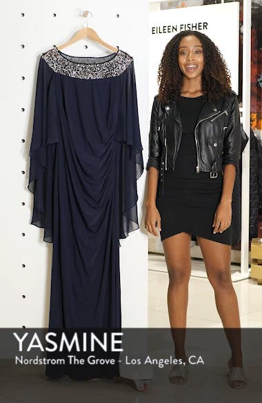 Chiffon Cape Sleeve Beaded Neckline Gown, sales video thumbnail