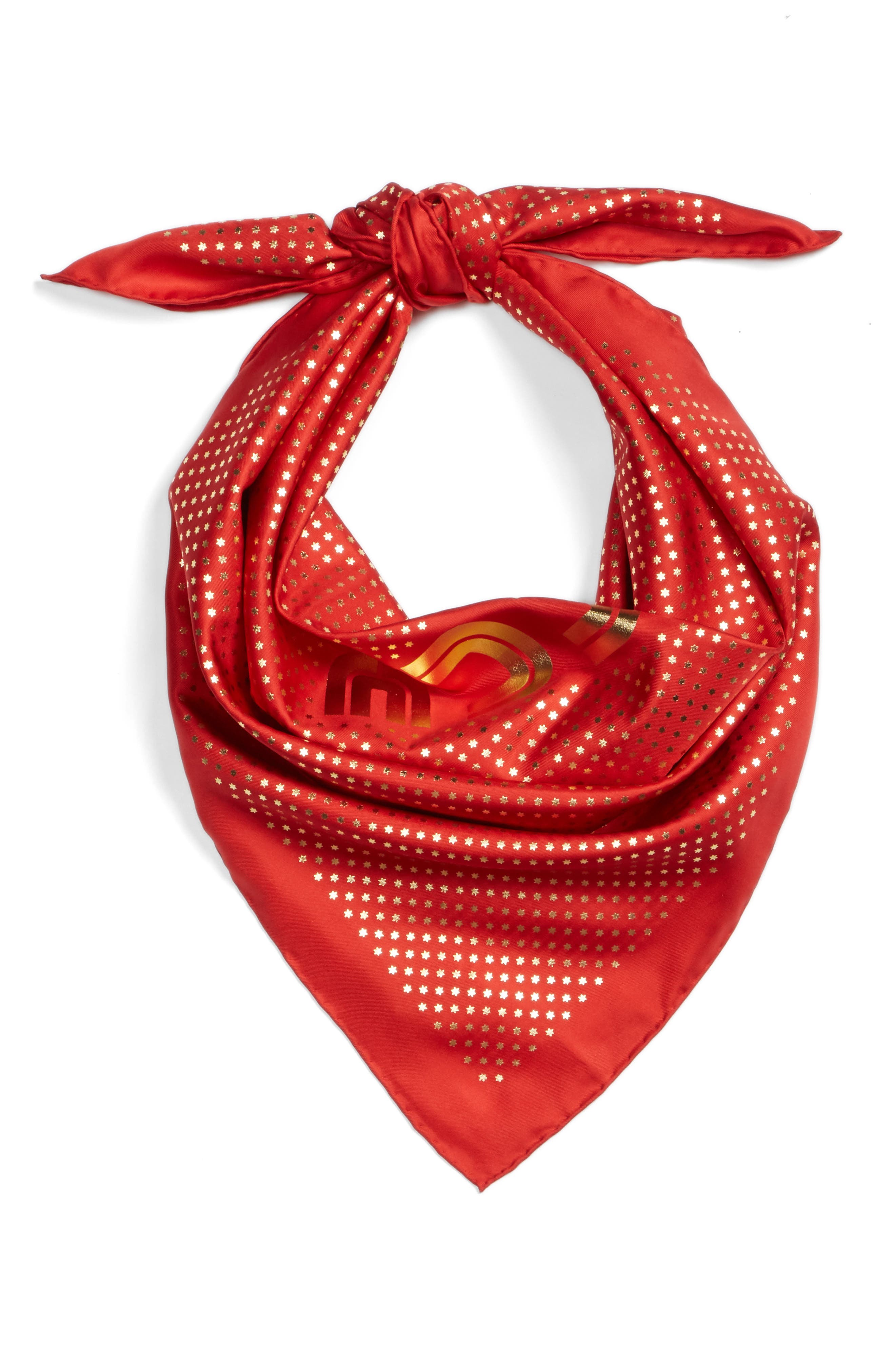 Guccy Star Foulard Silk Twill Scarf,                             Alternate thumbnail 3, color,                             FLAME