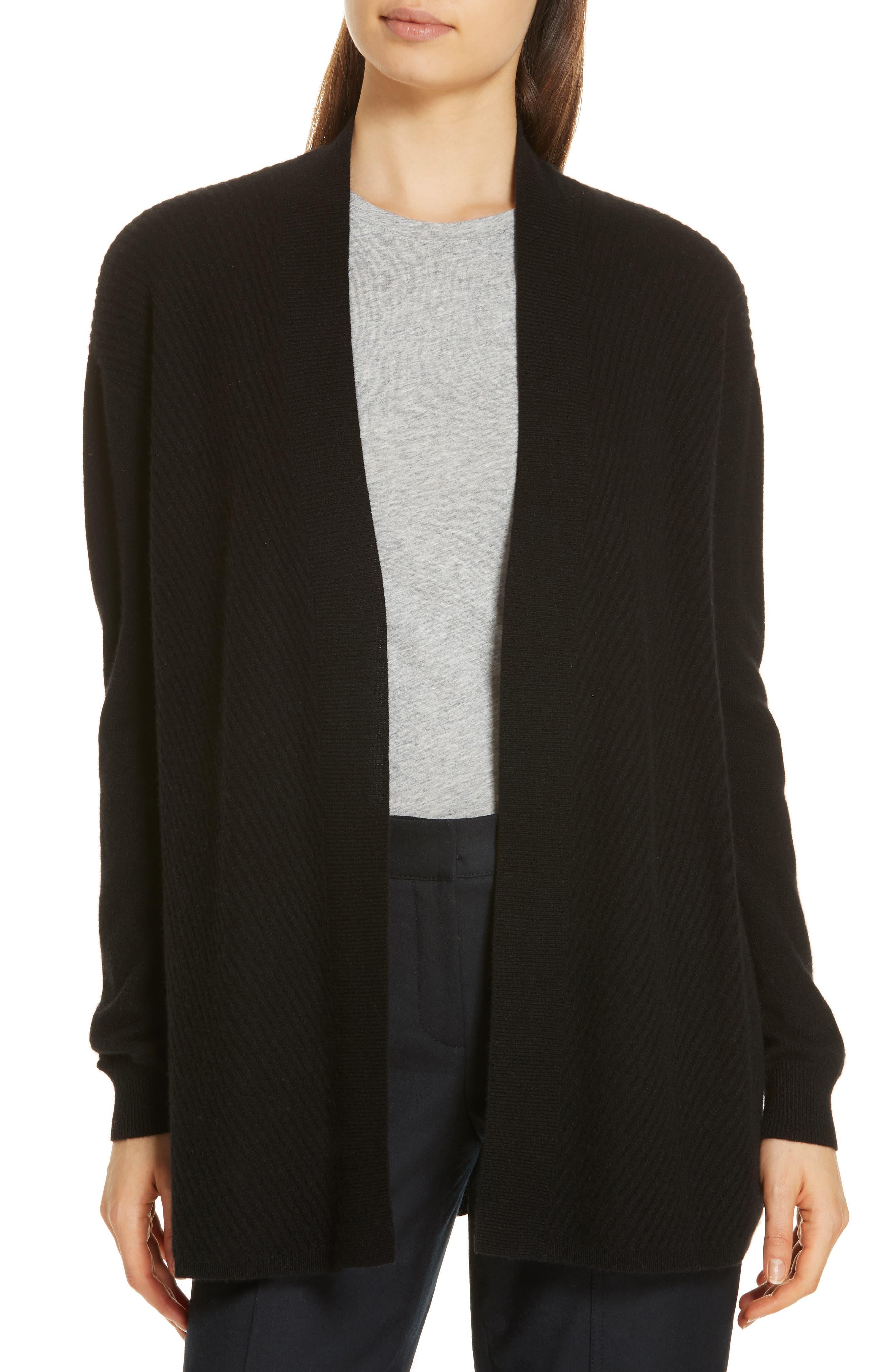 Chevron Cashmere Cardigan, Main, color, BLACK