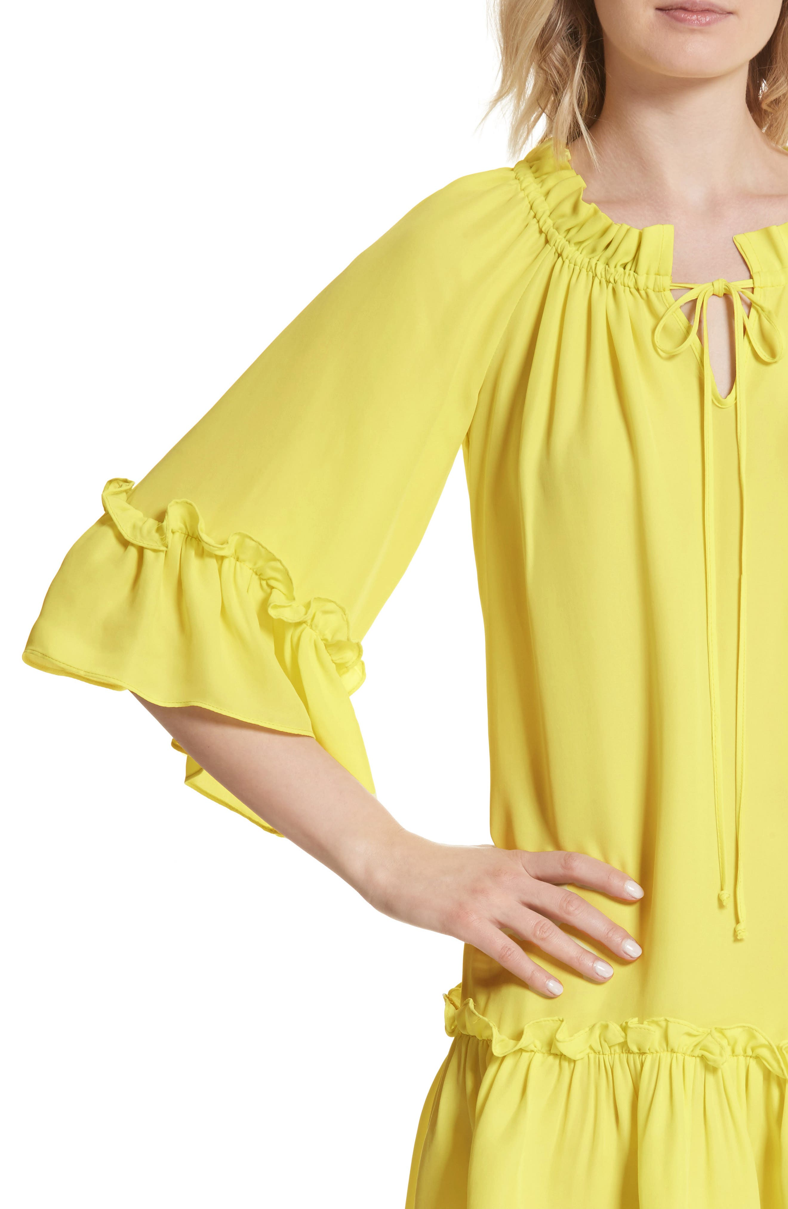 Santorini Ruffle Mini Dress,                             Alternate thumbnail 4, color,                             750