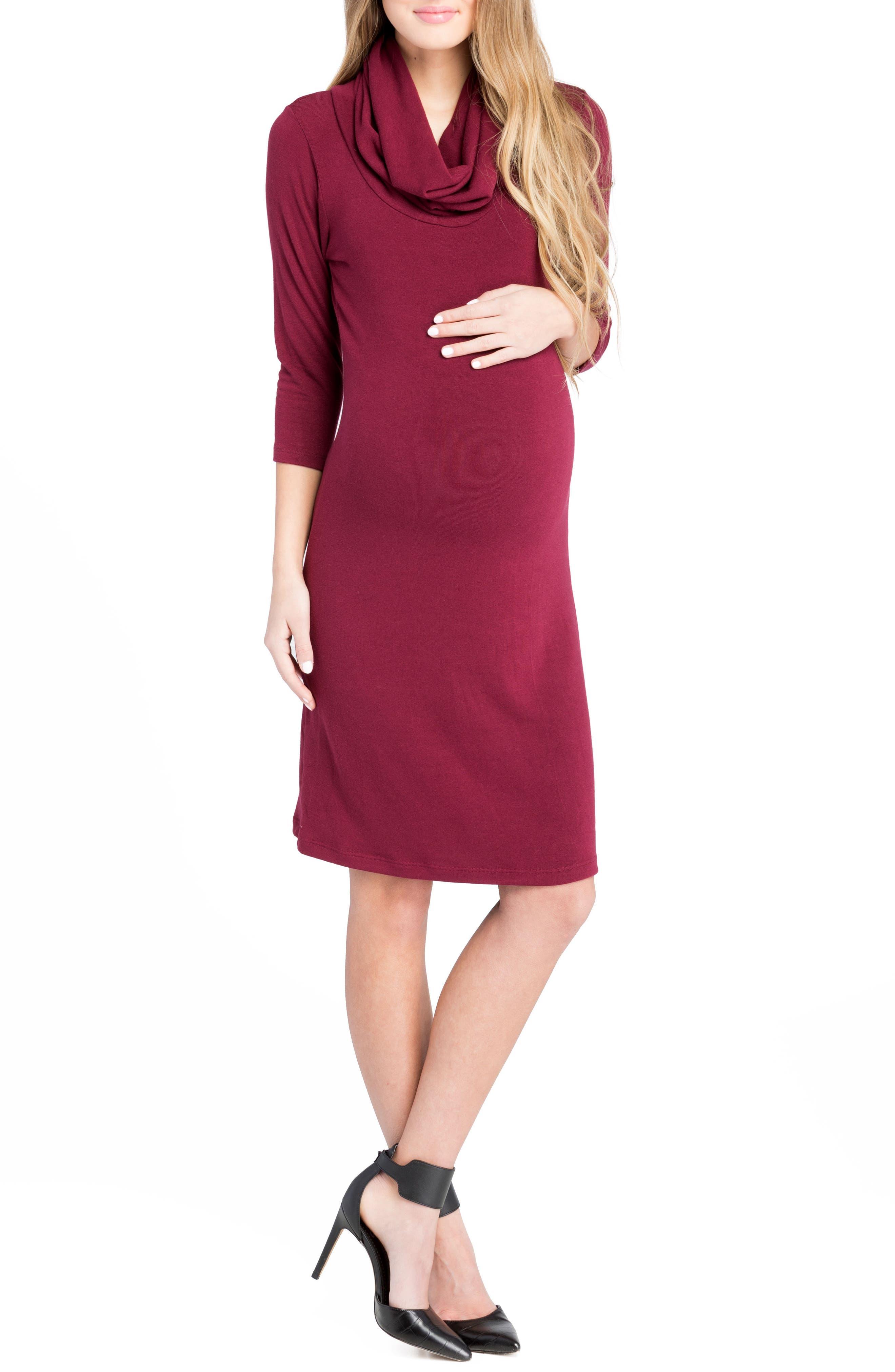 Cowl Neck Maternity Dress,                             Alternate thumbnail 9, color,