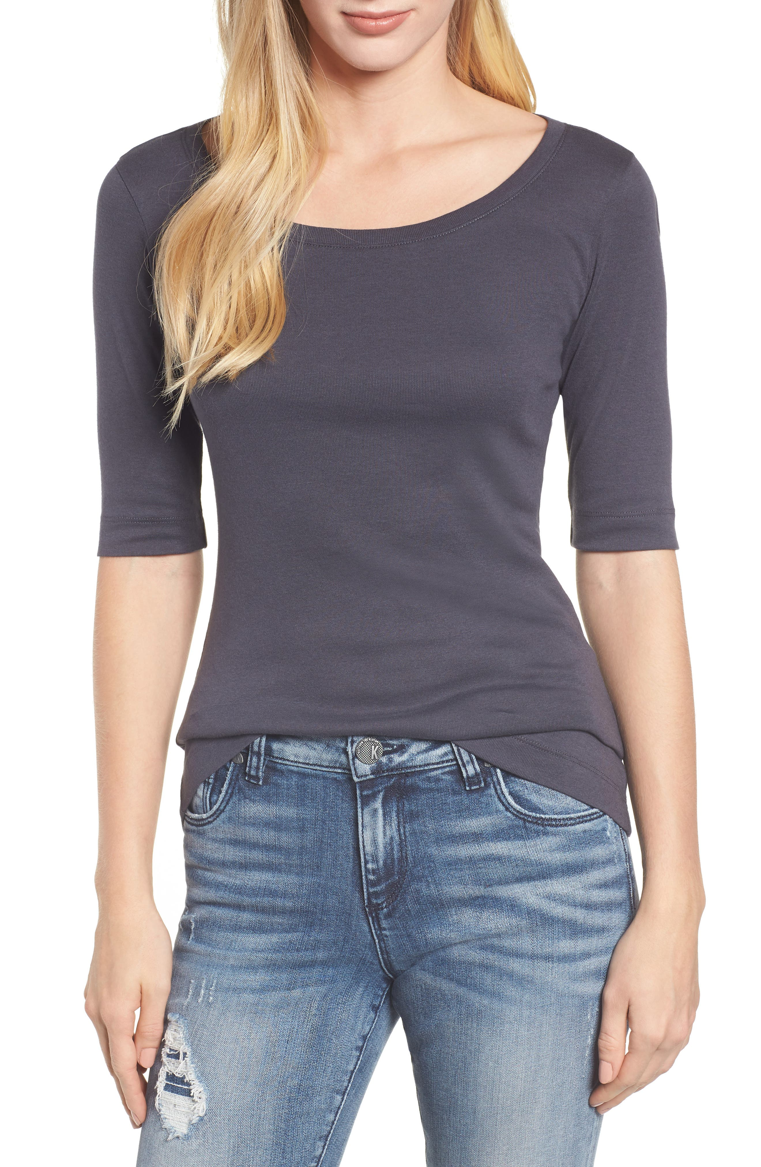 Ballet Neck Cotton & Modal Knit Elbow Sleeve Tee,                         Main,                         color, GREY EBONY