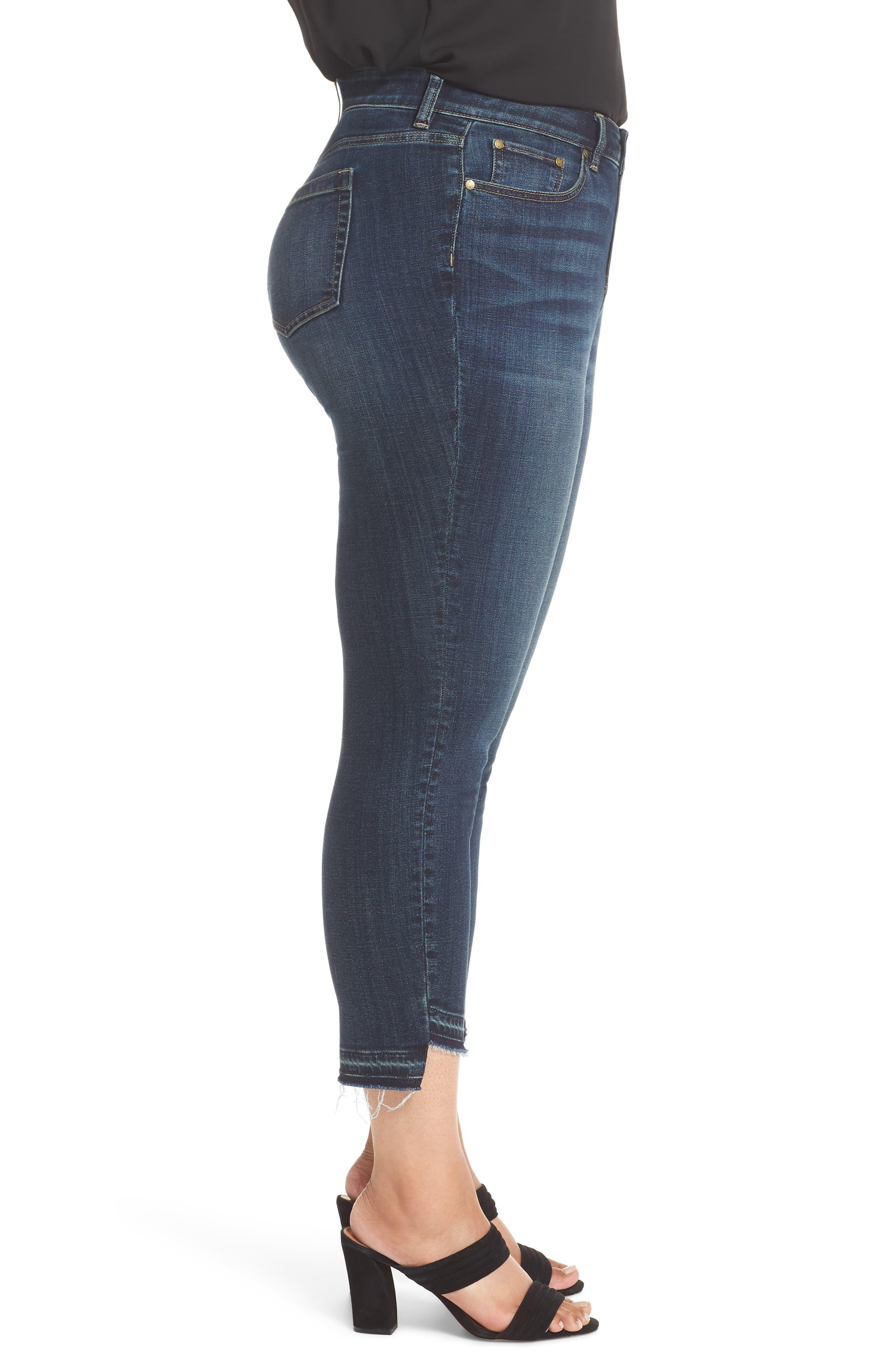 Indigo Curve Hem Skinny Jeans,                             Alternate thumbnail 3, color,                             DARK AUTHENTIC