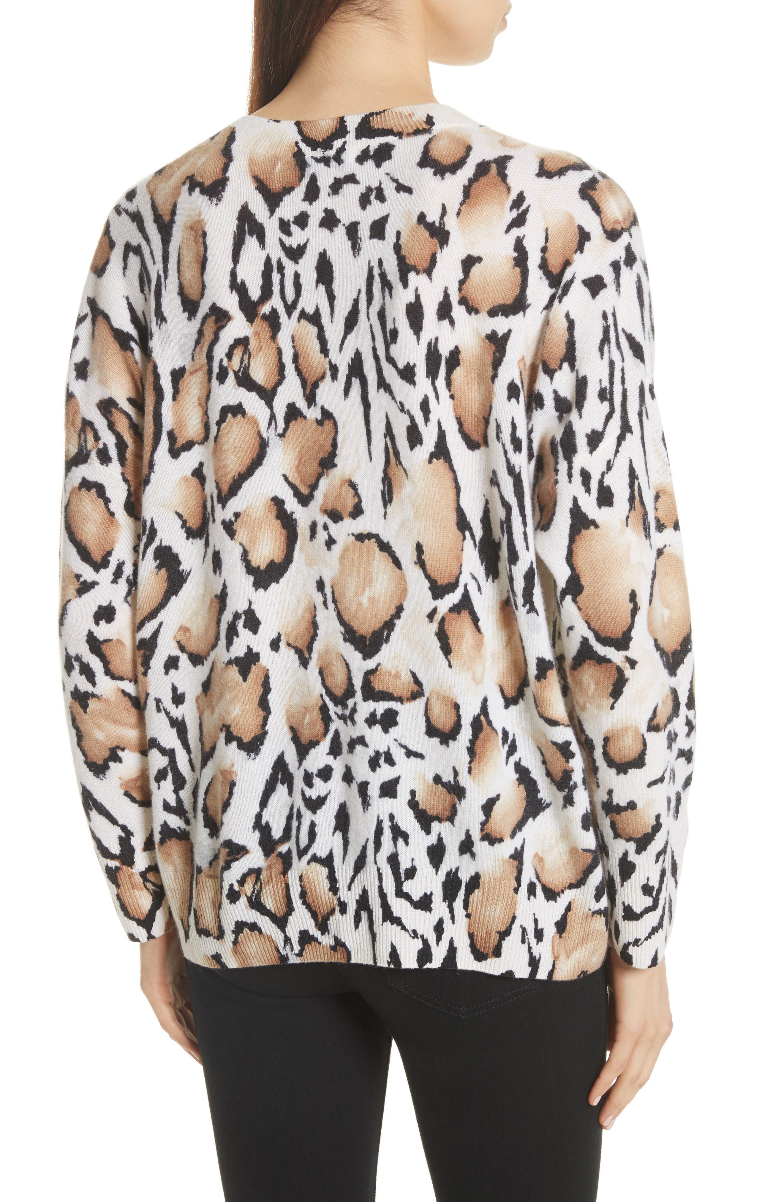 Melanie Clouded Leopard Print Cashmere Sweater,                             Alternate thumbnail 2, color,                             188