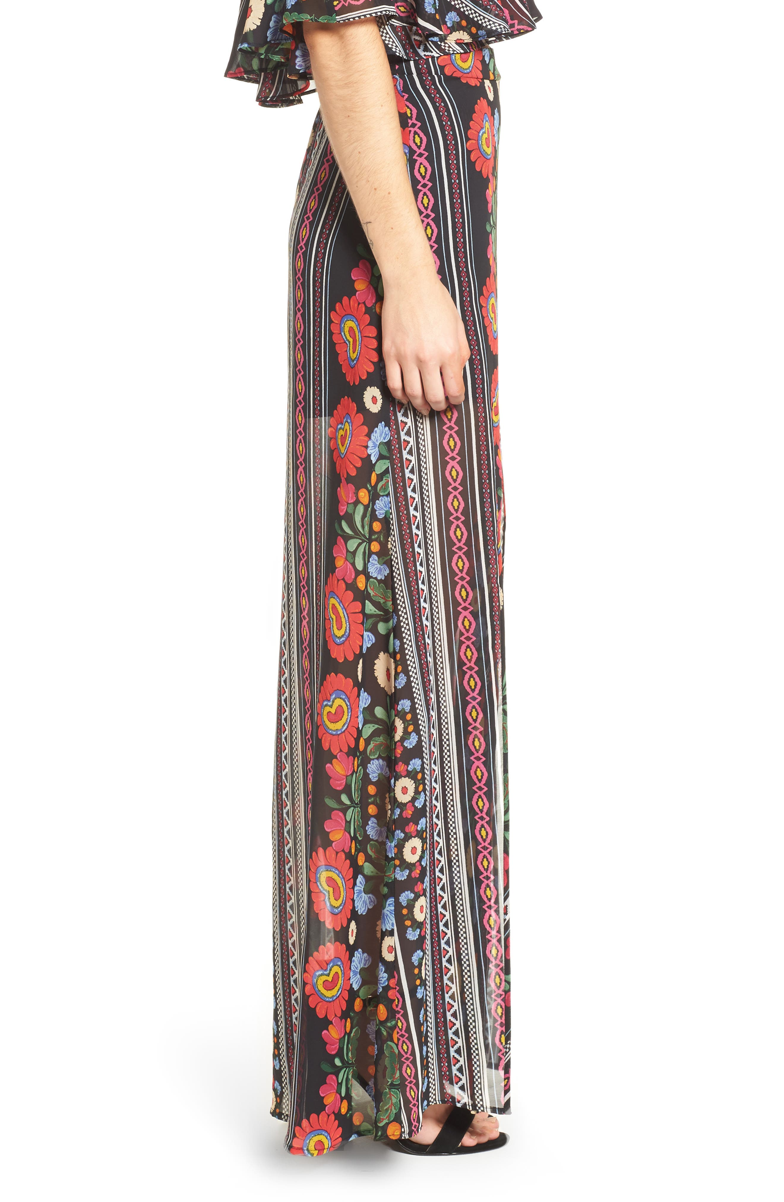 Mick Double Slit Skirt,                             Alternate thumbnail 3, color,                             600