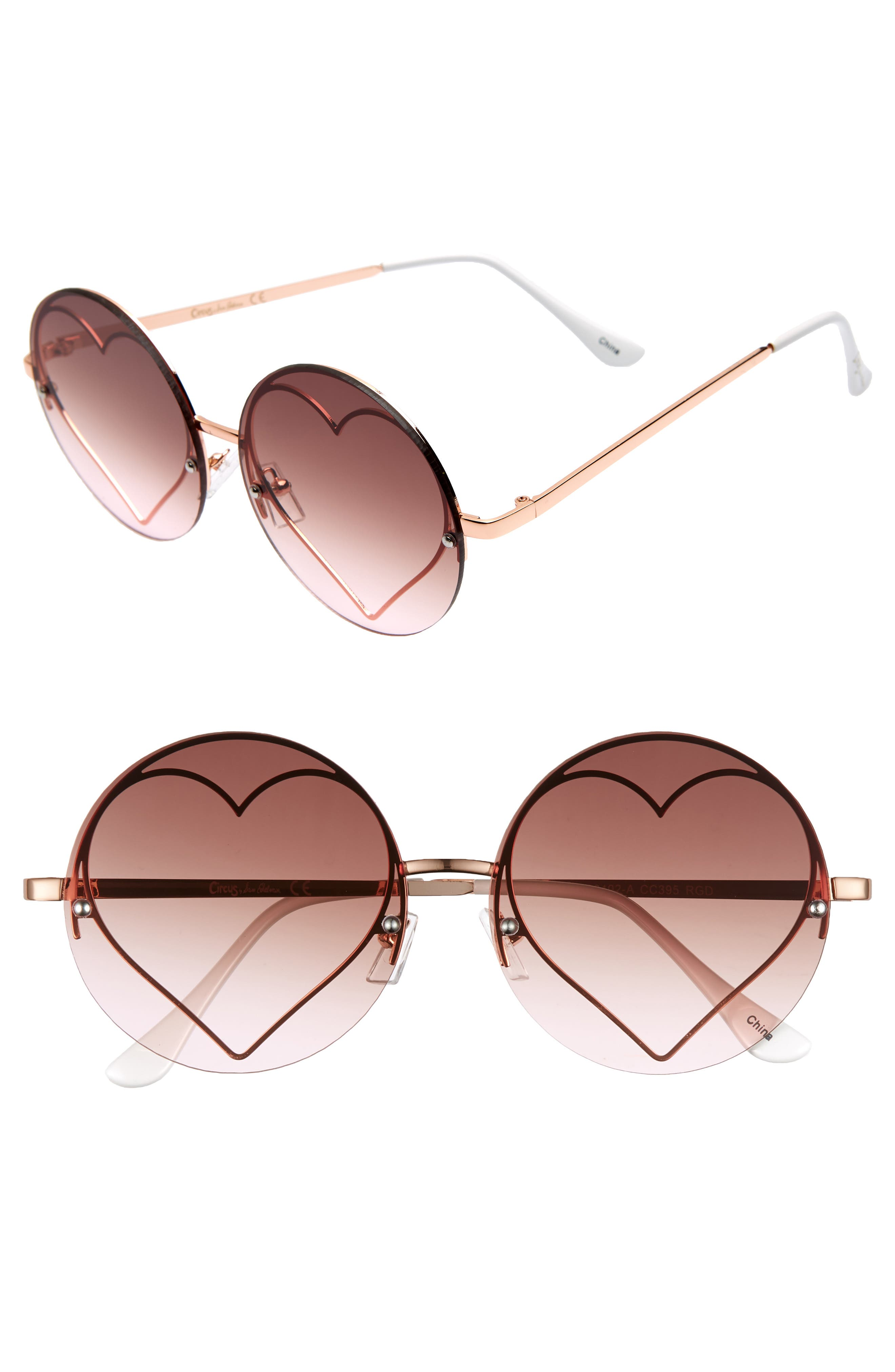 CIRCUS BY SAM EDELMAN 58Mm Heart Round Sunglasses - Rosegold/ Pink Lens