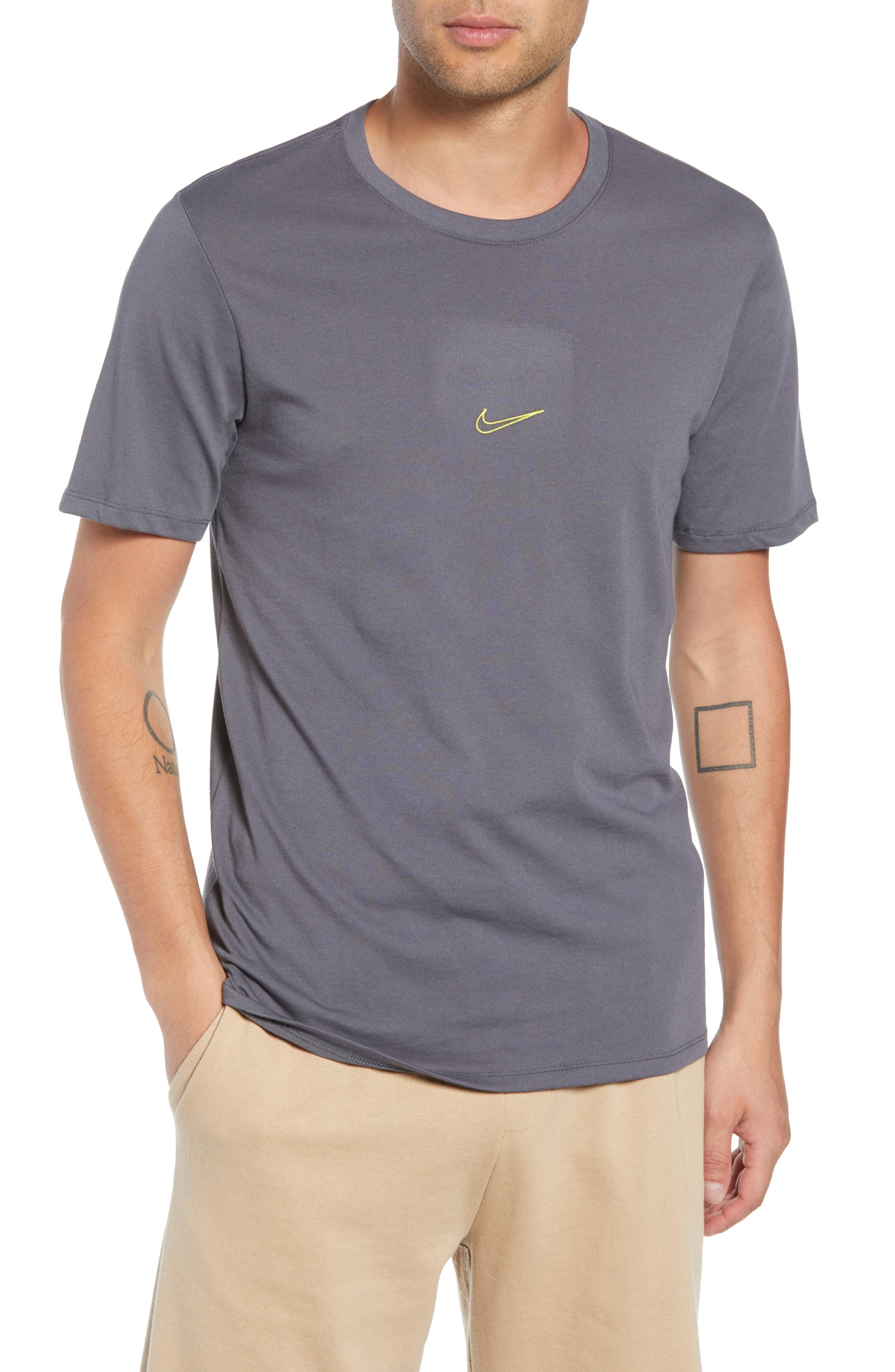 SB Dry Tropical Graphic T-Shirt,                             Main thumbnail 1, color,                             DARK GREY/ DYNAMIC YELLOW