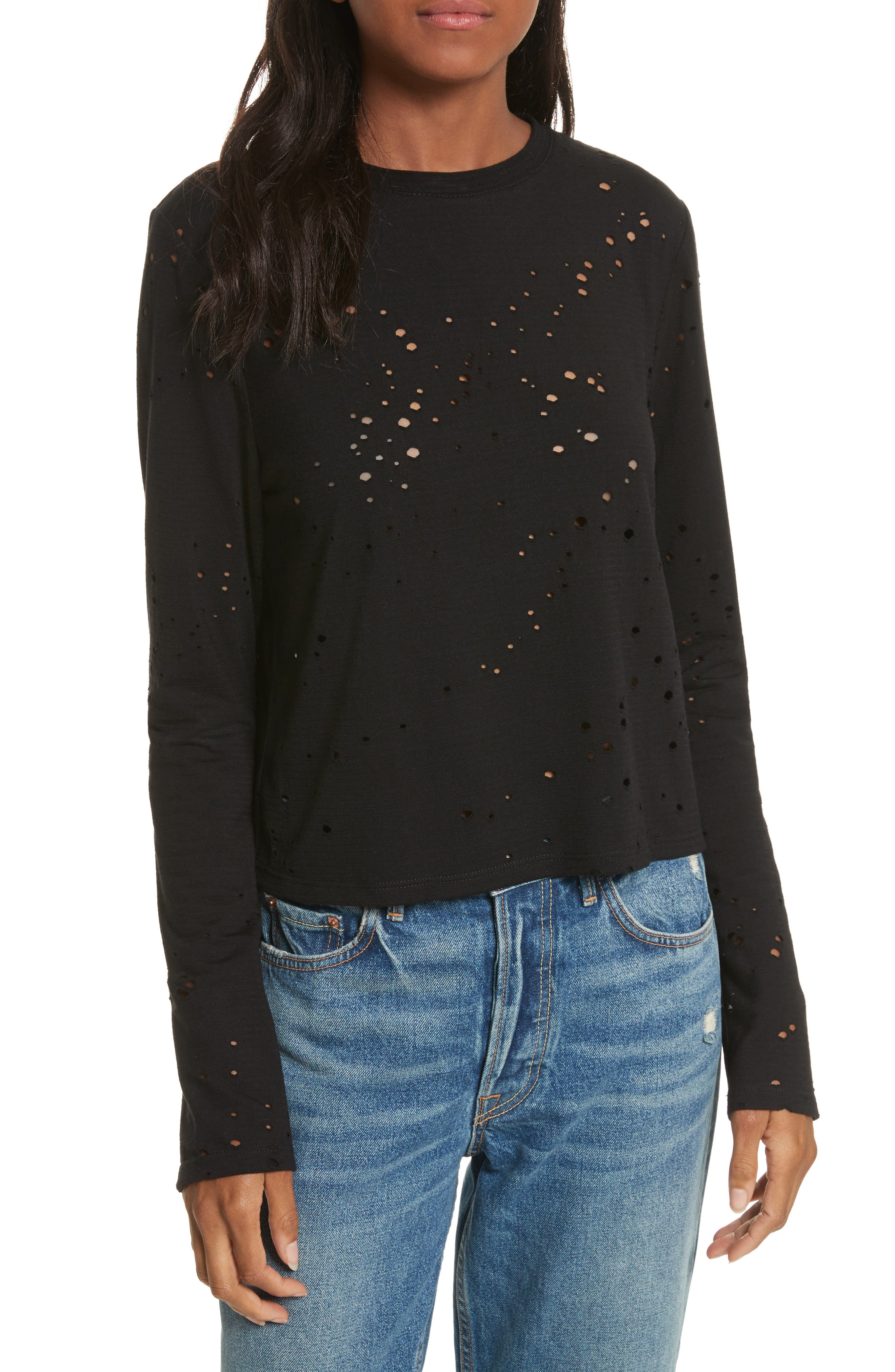 Waverly Perforated Crop Tee,                             Main thumbnail 1, color,                             001
