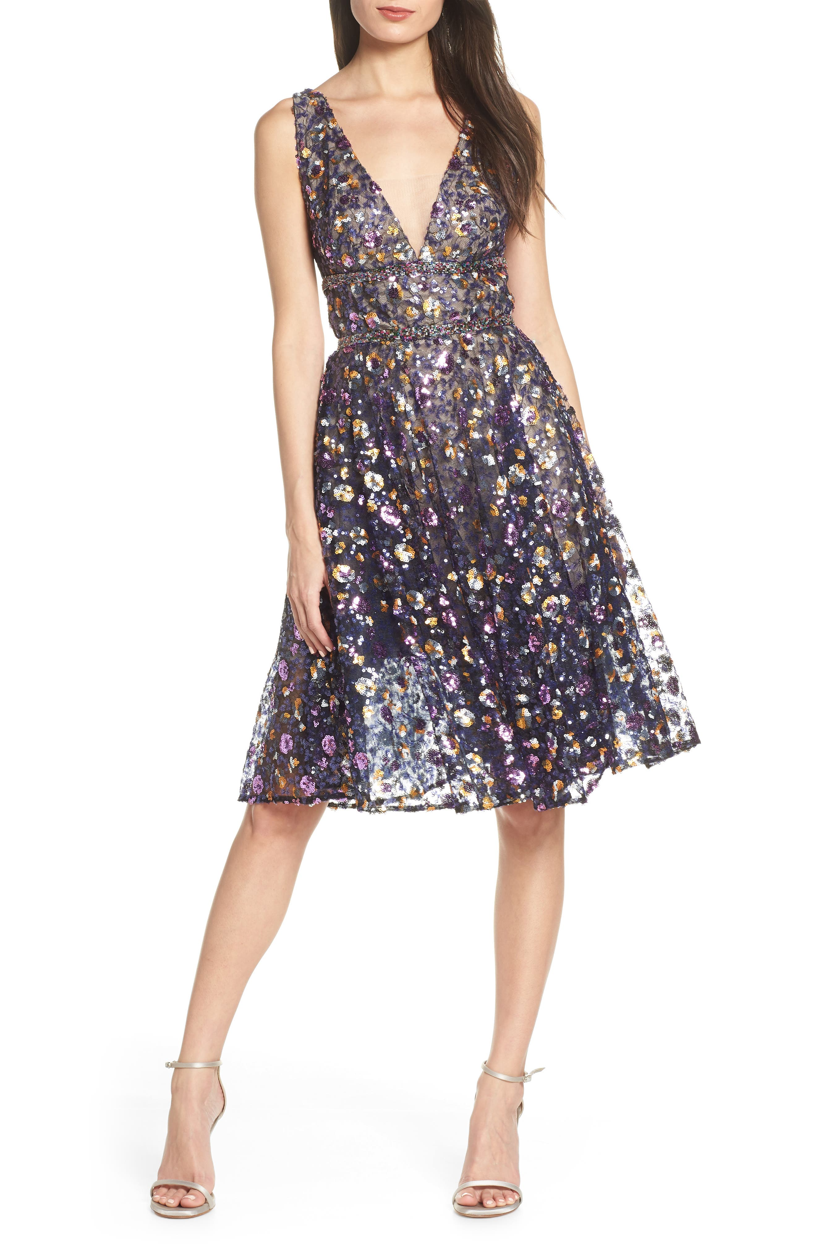 BRONX AND BANCO,                             Sequin Fit & Flare Dress,                             Main thumbnail 1, color,                             MULTICOLOR