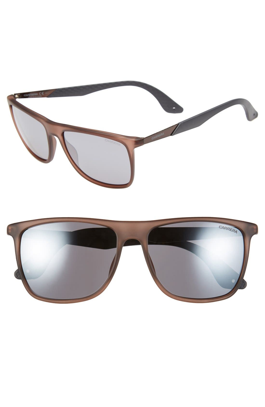 56mm Retro Sunglasses,                         Main,                         color, MATTE BROWN/ GREY FLASH MIRROR
