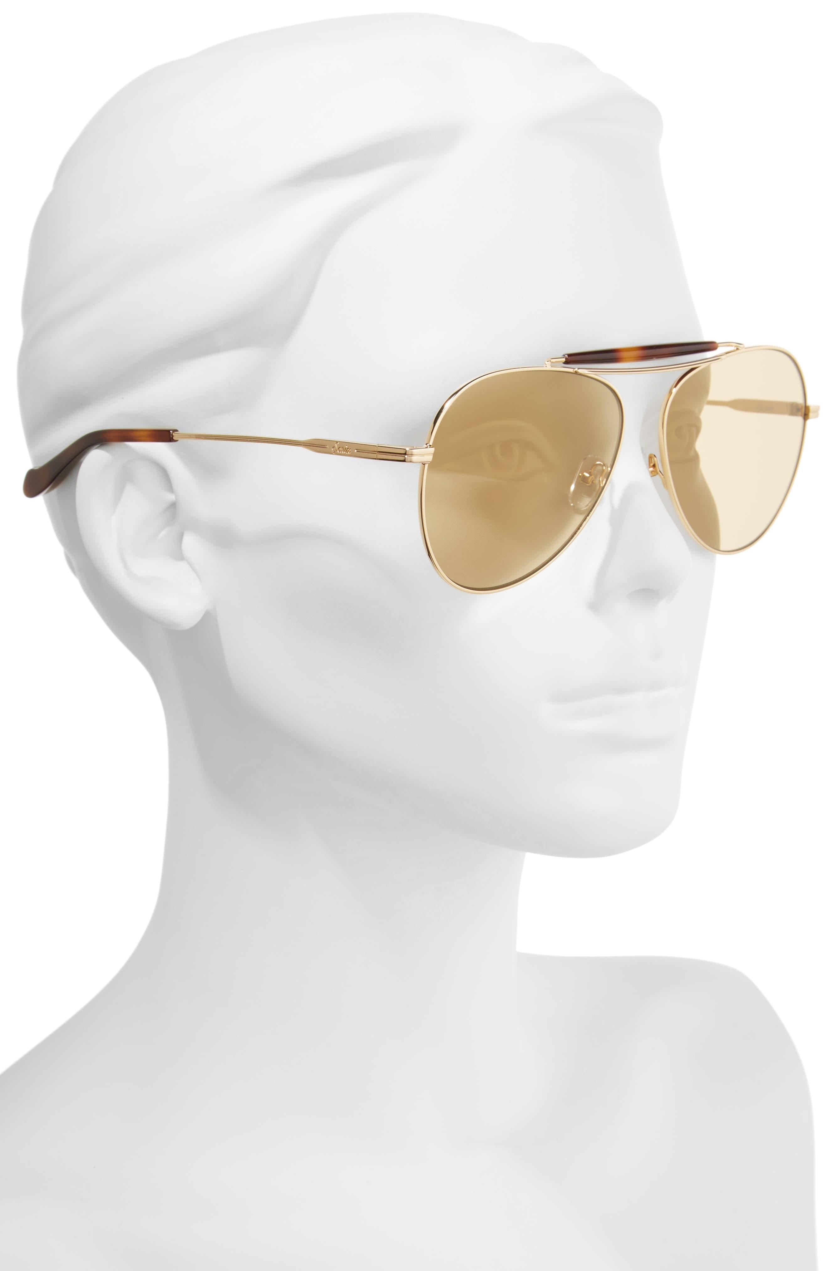 Nara 60mm Aviator Sunglasses,                             Alternate thumbnail 4, color,