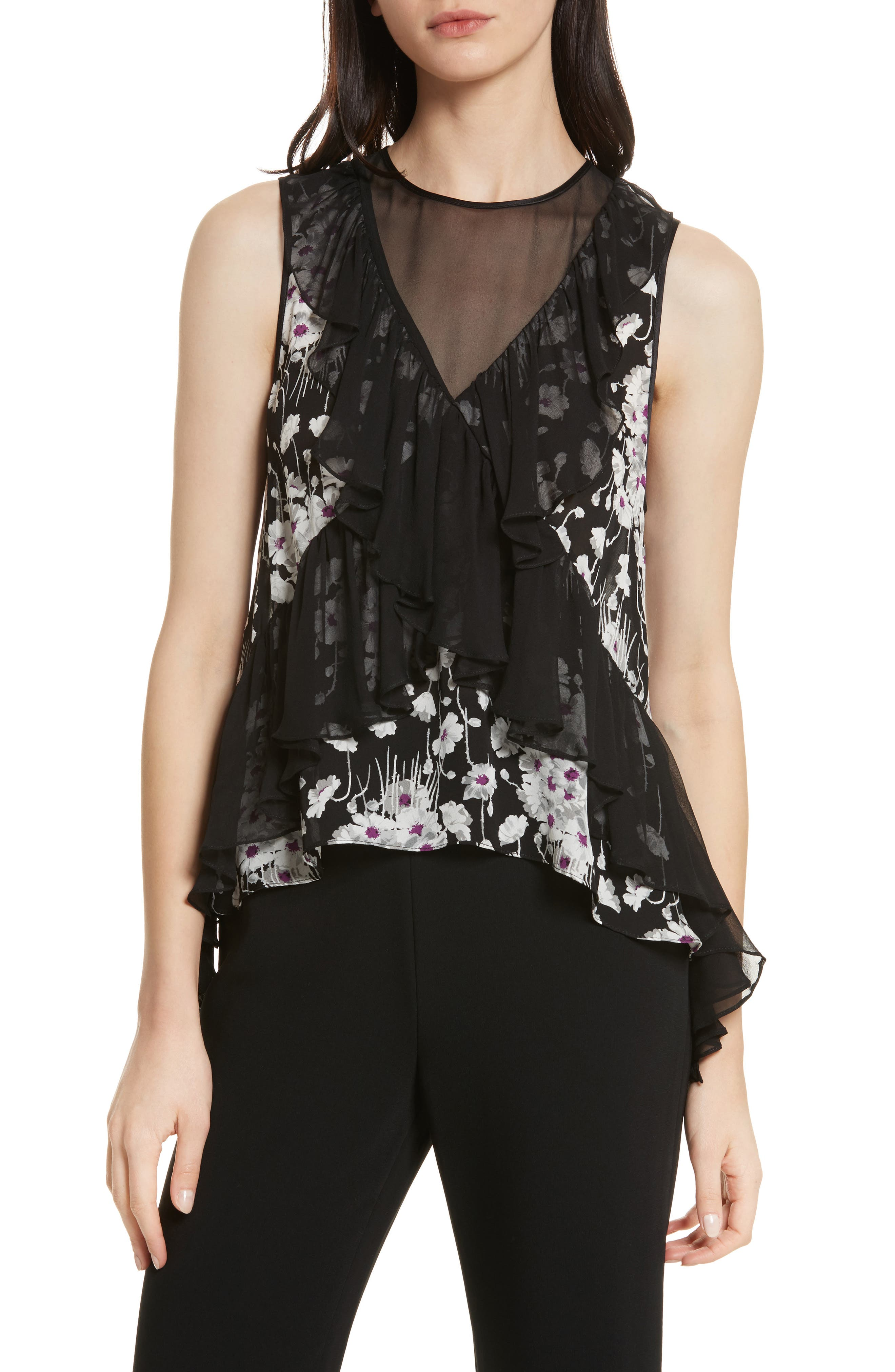Simone Ruffled Sleeveless Silk Top,                             Main thumbnail 1, color,                             008
