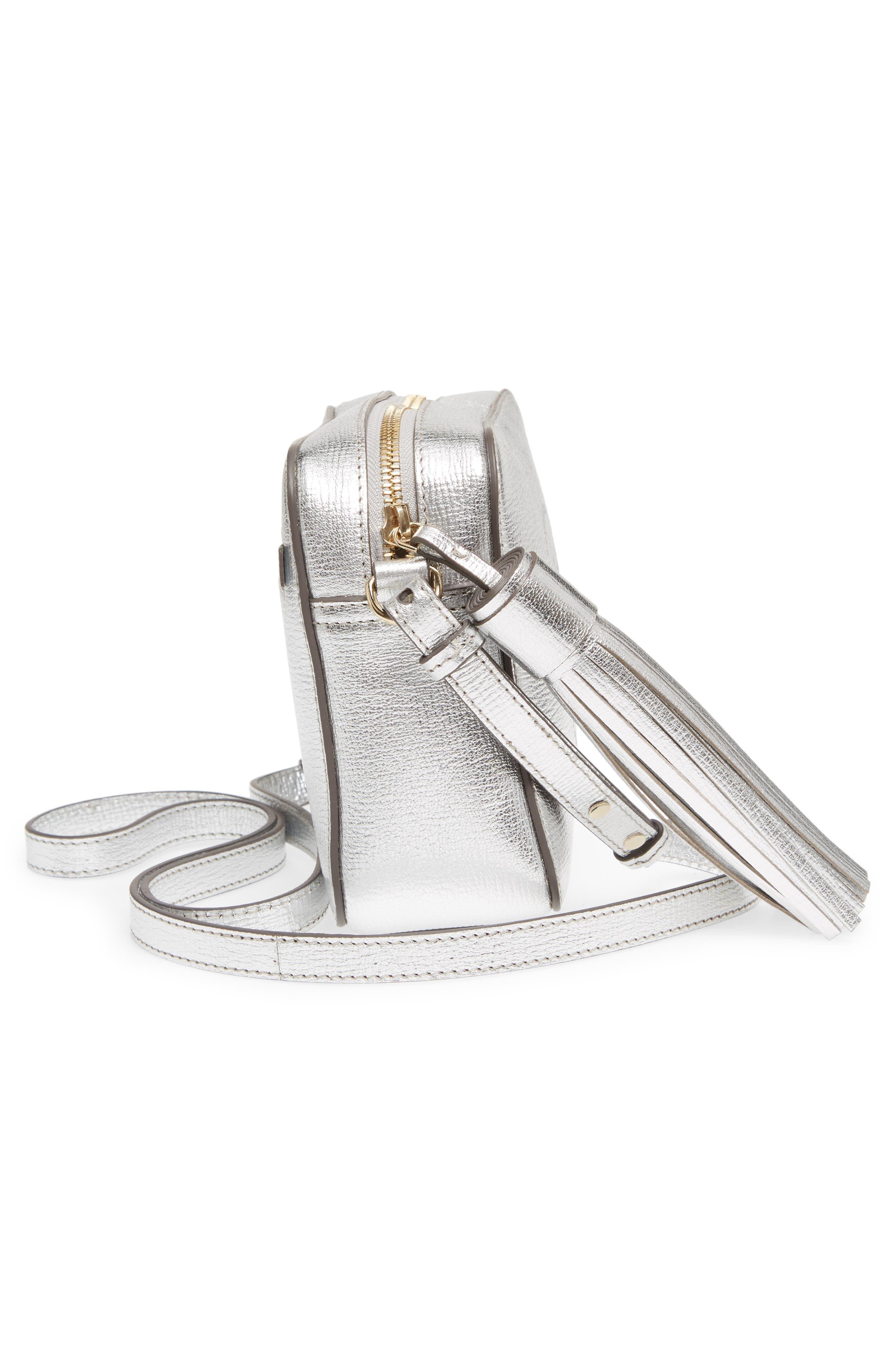 Smiley Metallic Leather Crossbody Bag,                             Alternate thumbnail 5, color,                             SILVER
