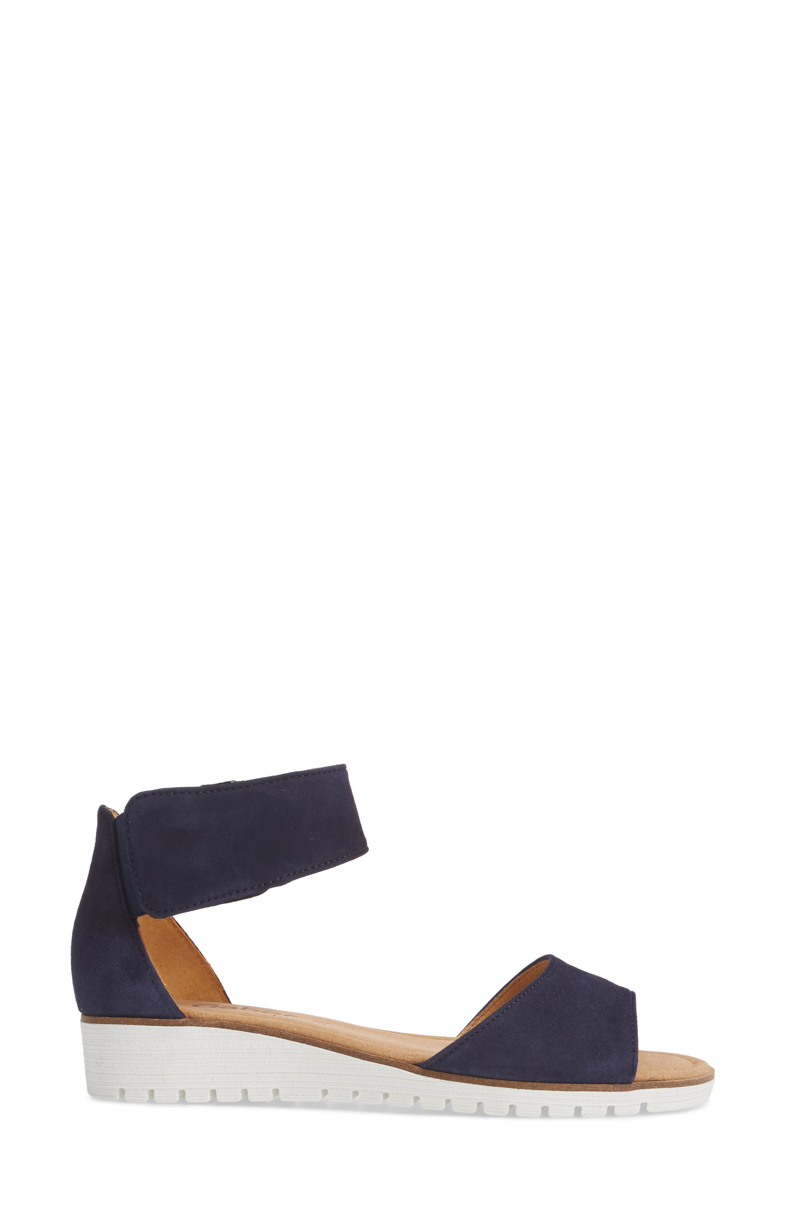 Ankle Strap Sandal,                             Alternate thumbnail 3, color,                             BLUE SUEDE