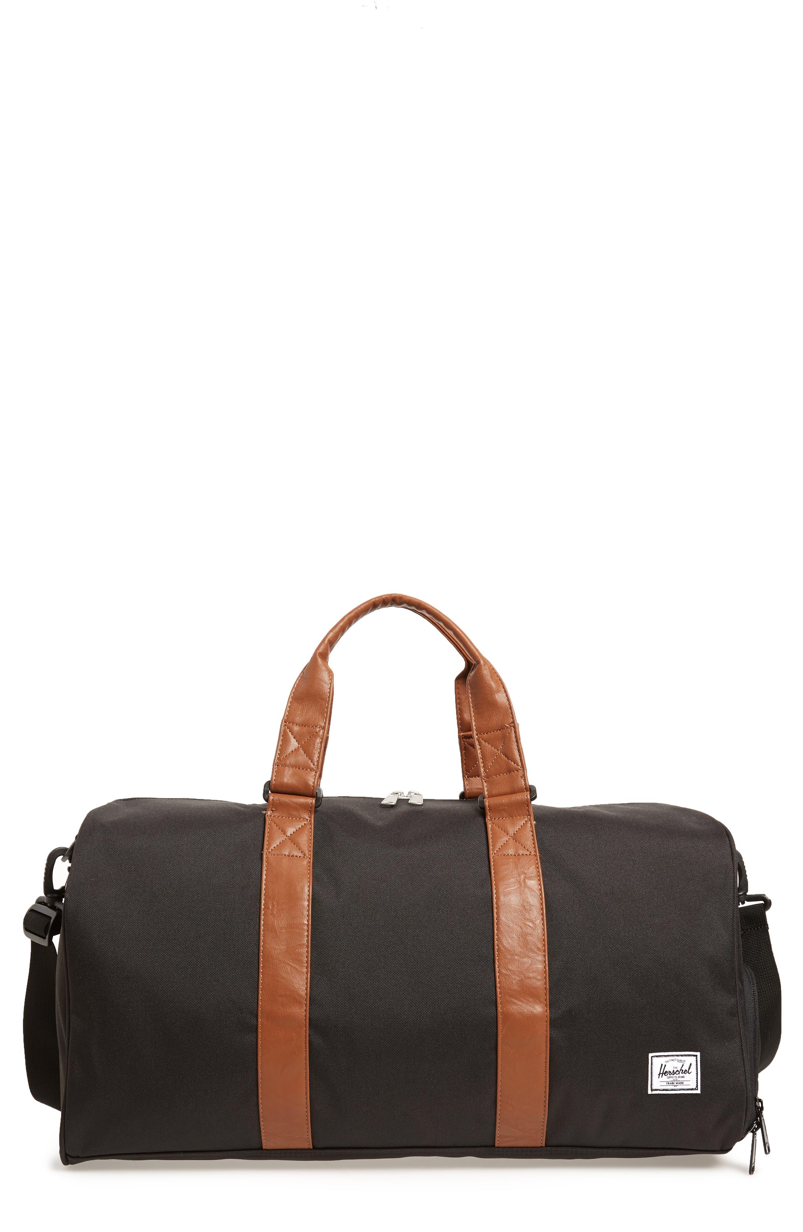 Novel Canvas Duffel Bag,                         Main,                         color, BLACK/ TAN