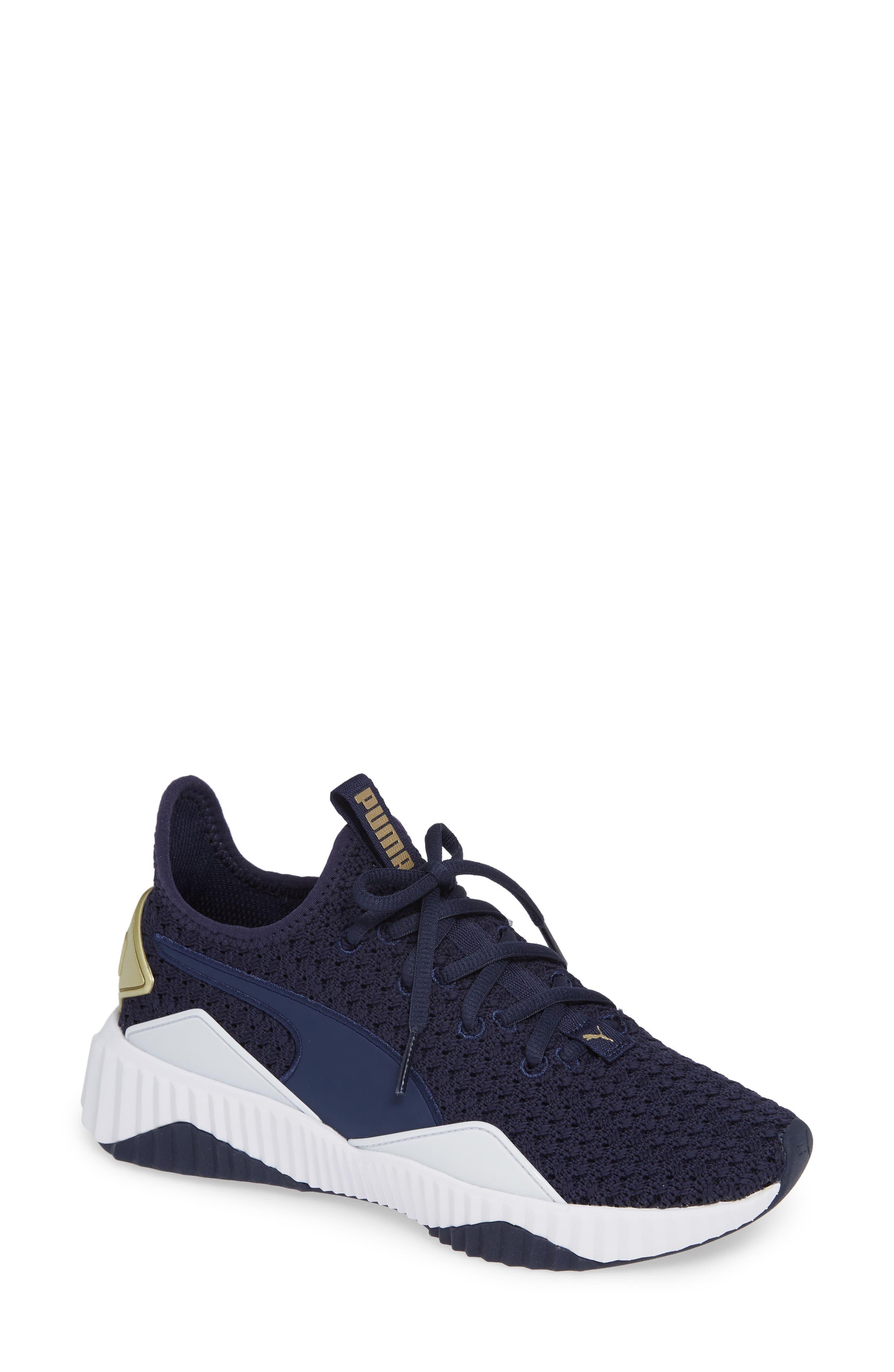 Defy Varsity Sneaker,                             Main thumbnail 1, color,                             BLUE/ METALLIC GOLD