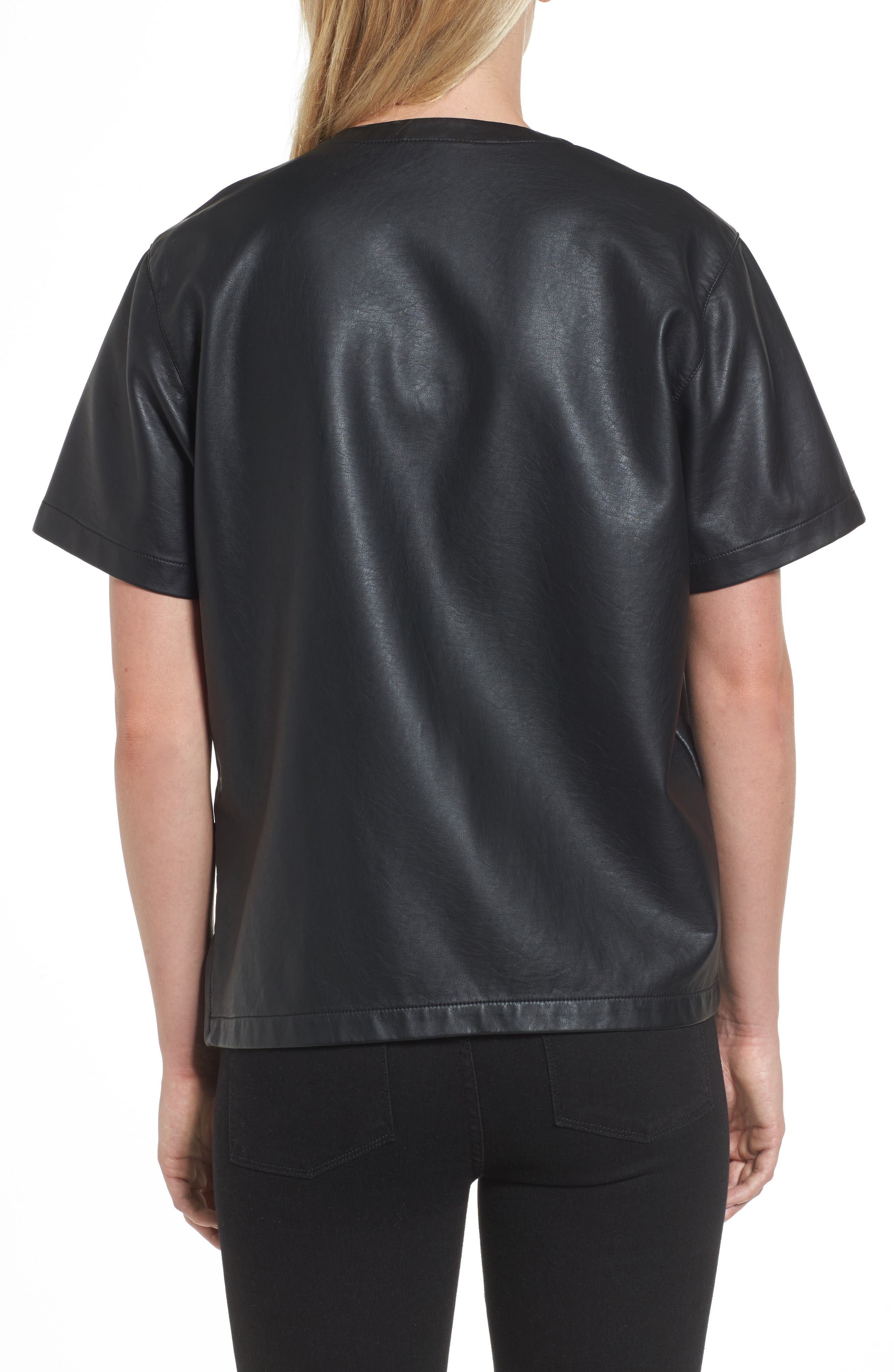 Faux Leather Tee,                             Alternate thumbnail 2, color,