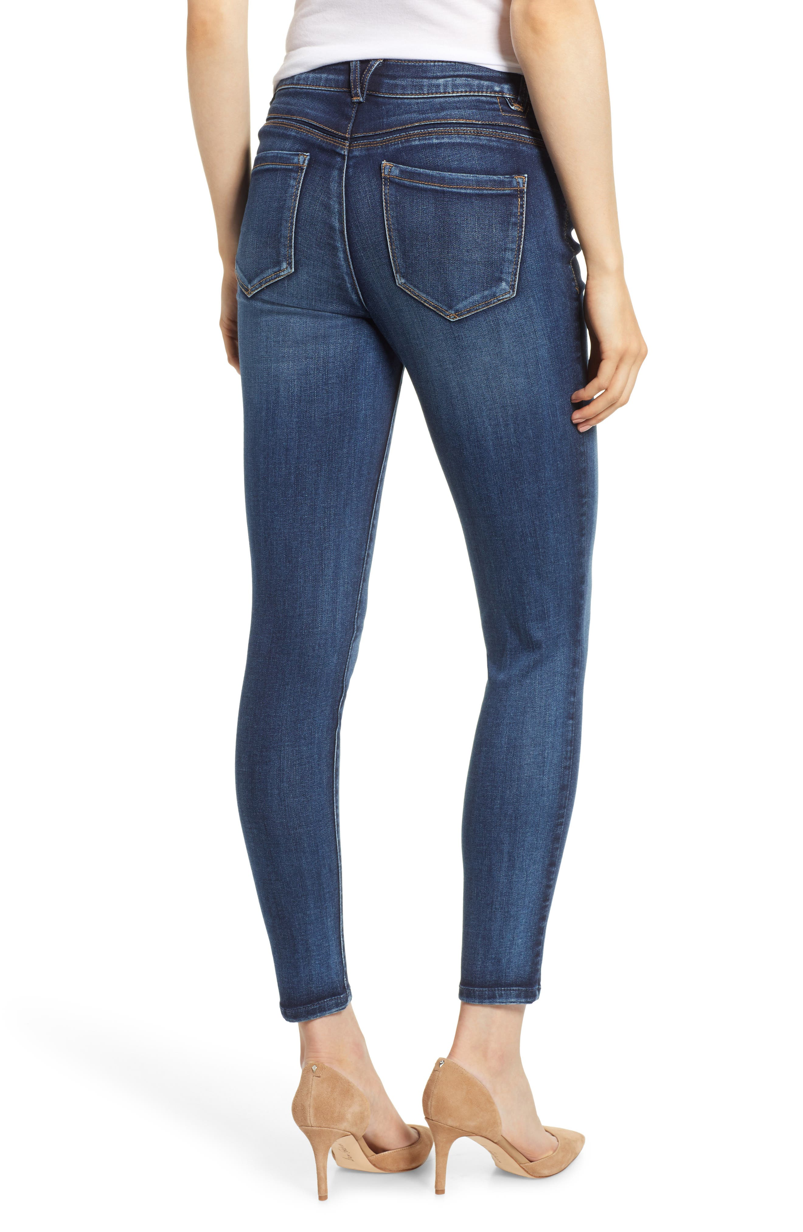 Luxe Touch High Waist Skinny Ankle Jeans,                             Alternate thumbnail 2, color,                             BLUE