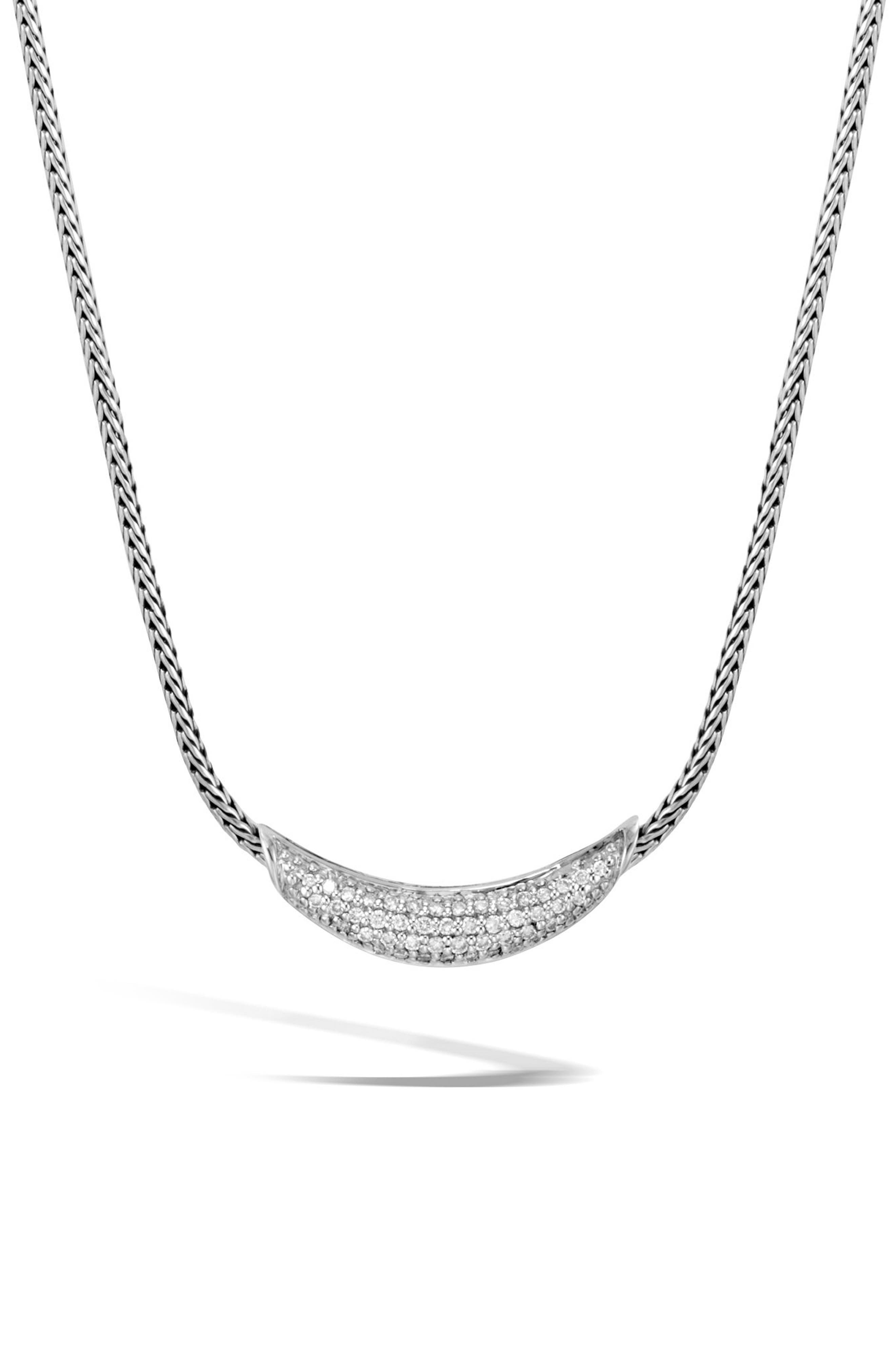 Classic Silver Chain Diamond Pavé Necklace,                         Main,                         color, SILVER/ DIAMOND