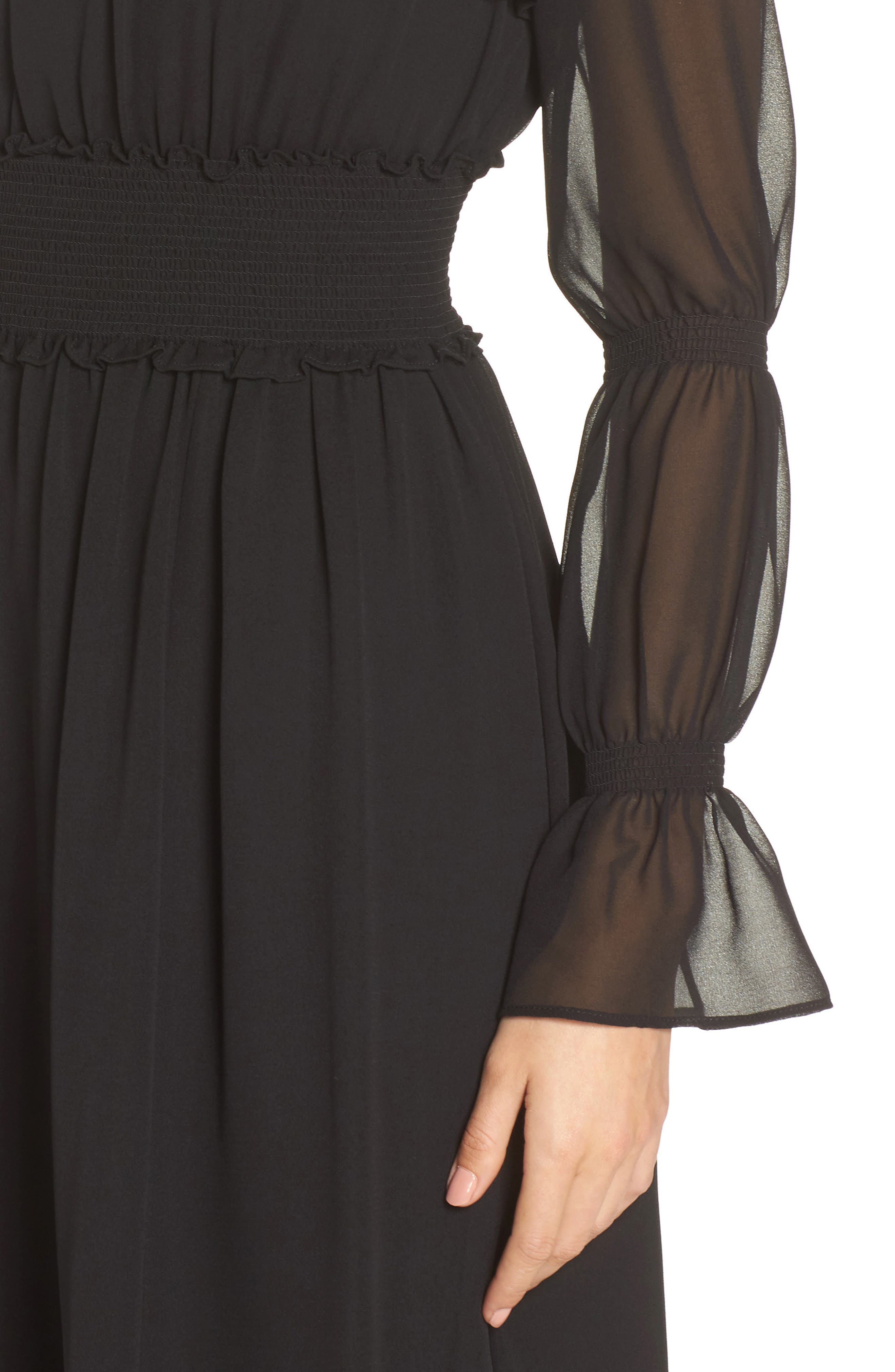 Ruffle Midi Dress,                             Alternate thumbnail 4, color,                             001