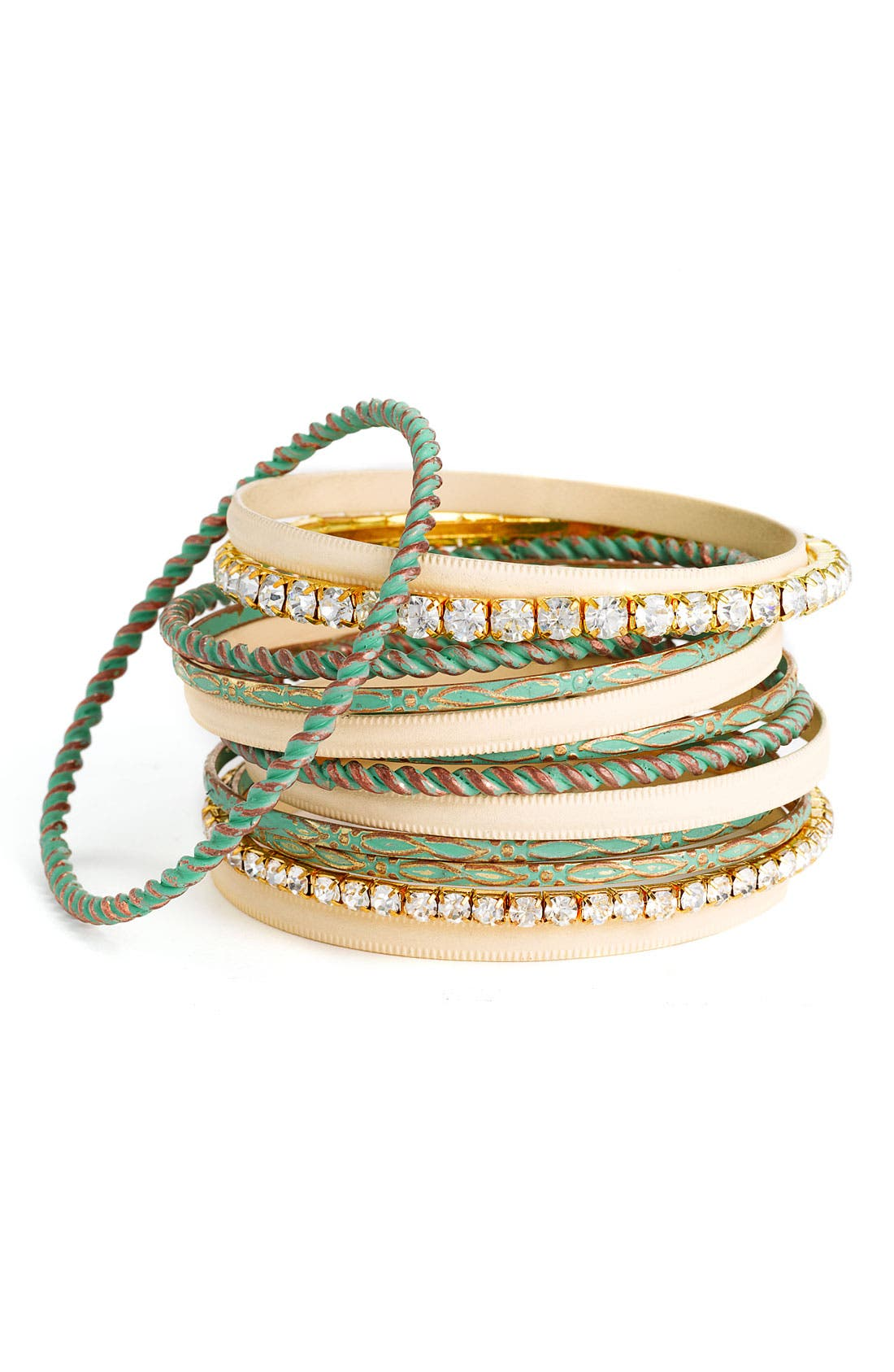 Accessories Crystal & Patina Finish Metal Bangles,                         Main,                         color, 440