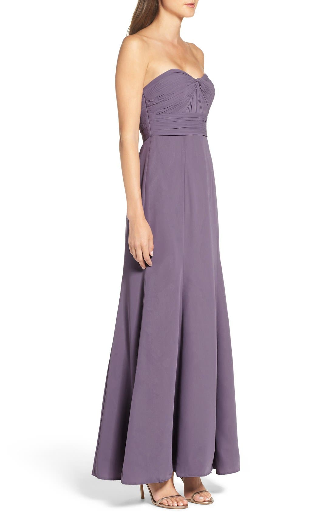 Strapless Chiffon Gown,                             Alternate thumbnail 8, color,