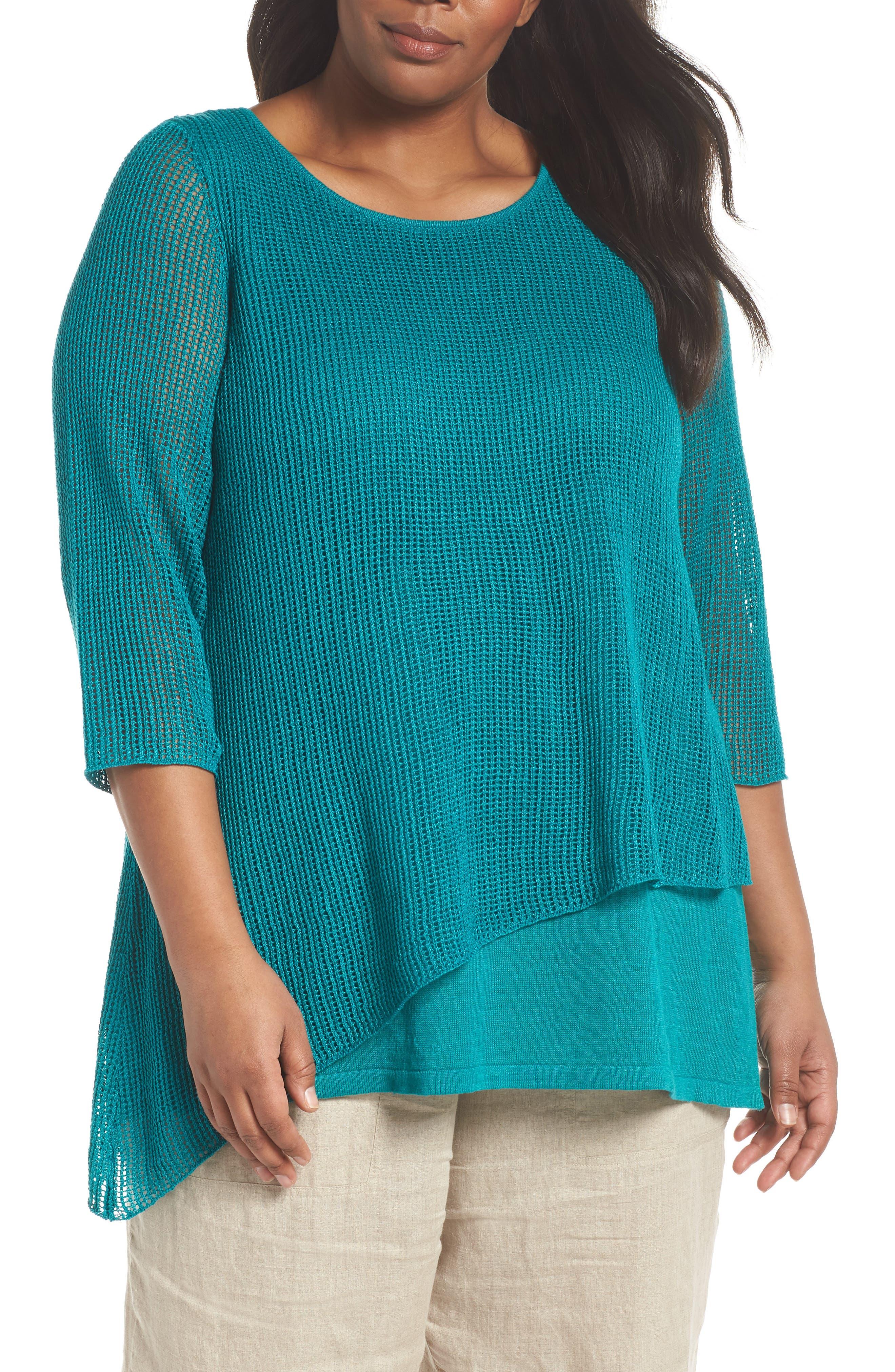 Layered Organic Linen Tunic Sweater,                             Main thumbnail 3, color,