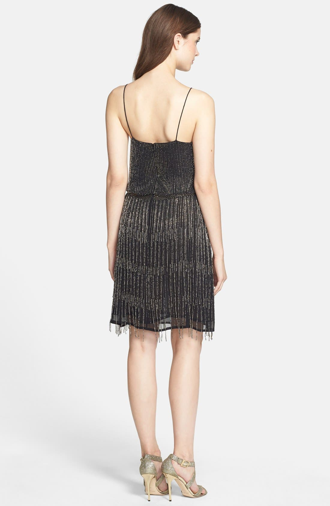 Beaded Fringe Blouson Dress,                             Alternate thumbnail 9, color,                             017