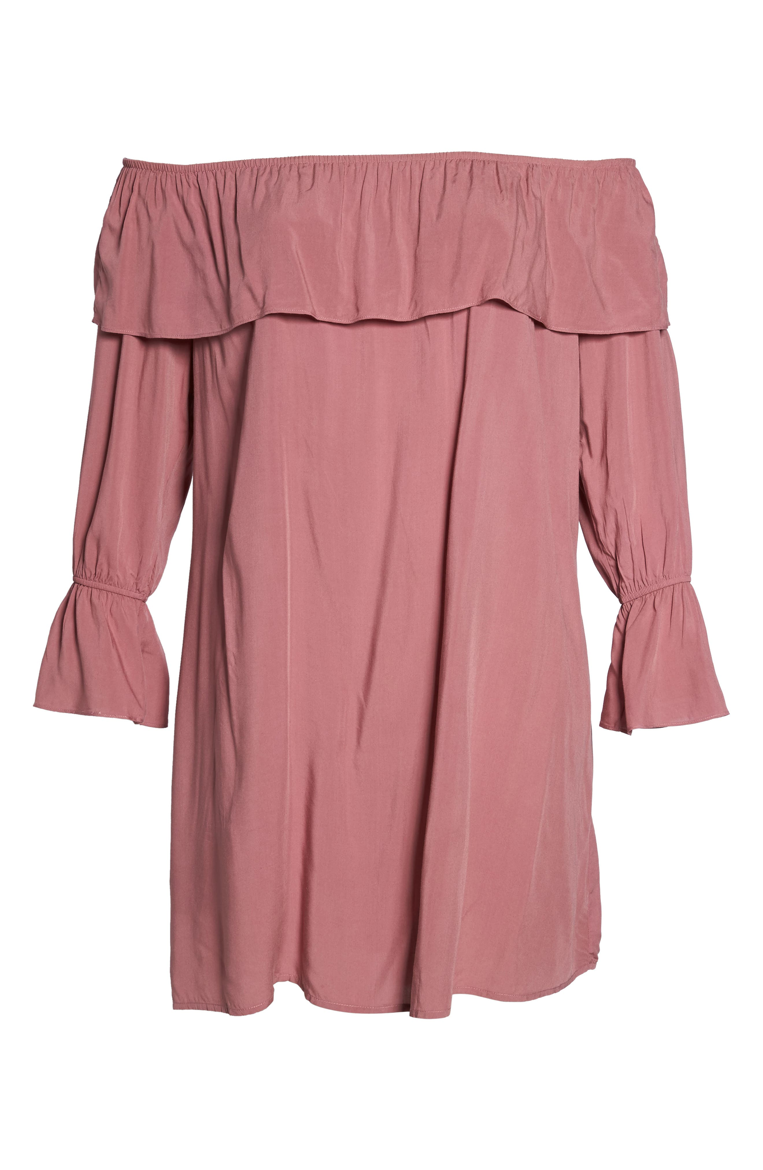 Ruffle Off-the-Shoulder Shift Dress,                             Alternate thumbnail 6, color,                             651