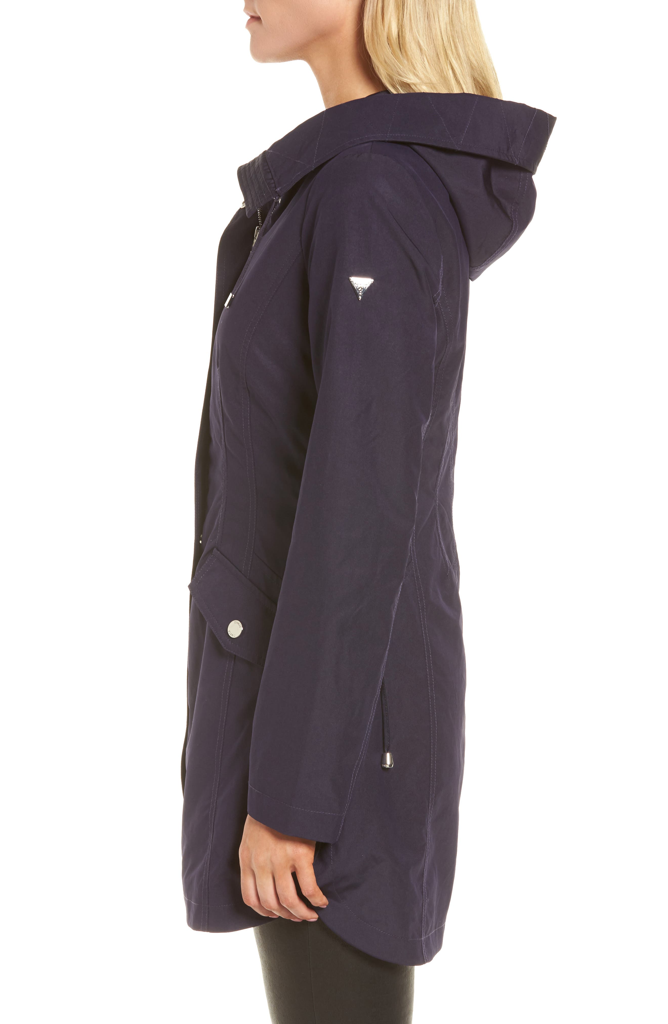 Side Lace-Up Hooded Trench Coat,                             Alternate thumbnail 7, color,