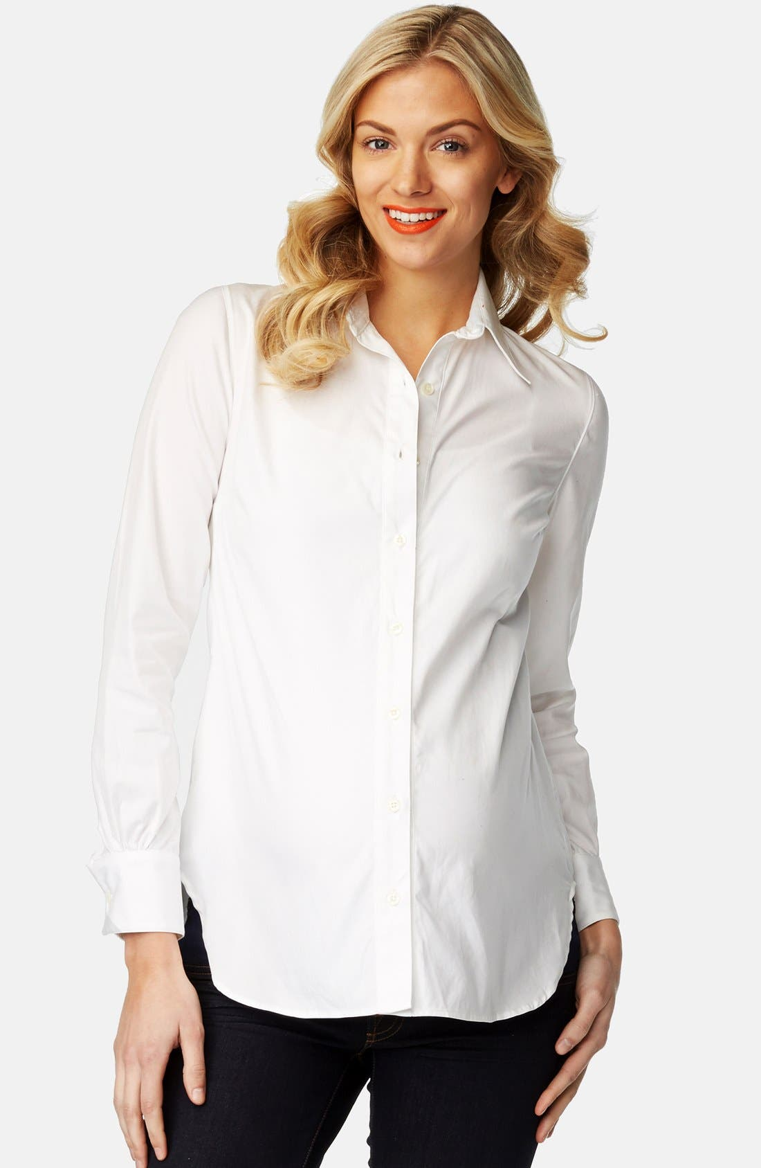 'Classic' Maternity Shirt,                         Main,                         color, WHITE
