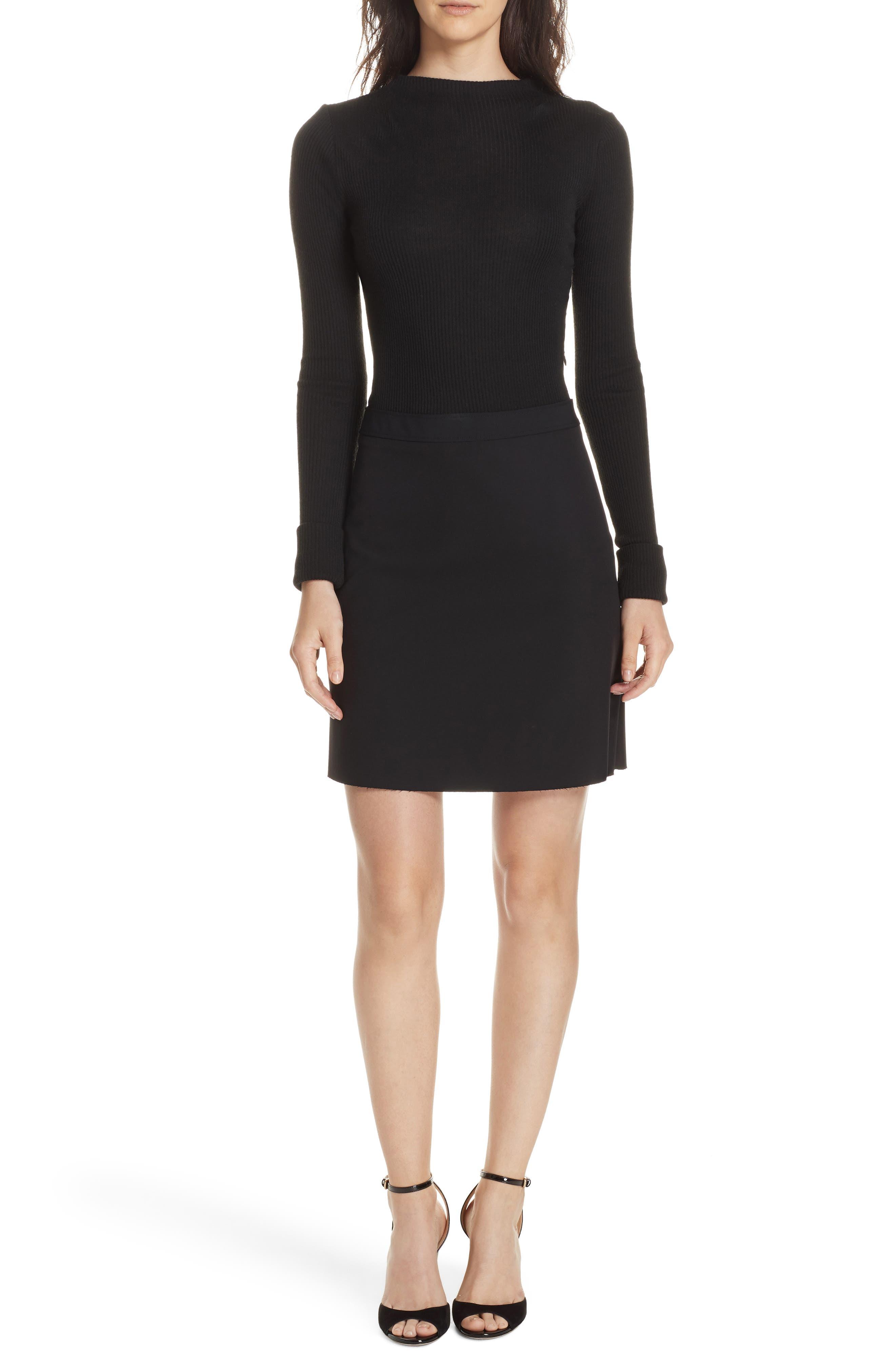 Combo Mock Neck Sweater Dress,                             Main thumbnail 1, color,                             001