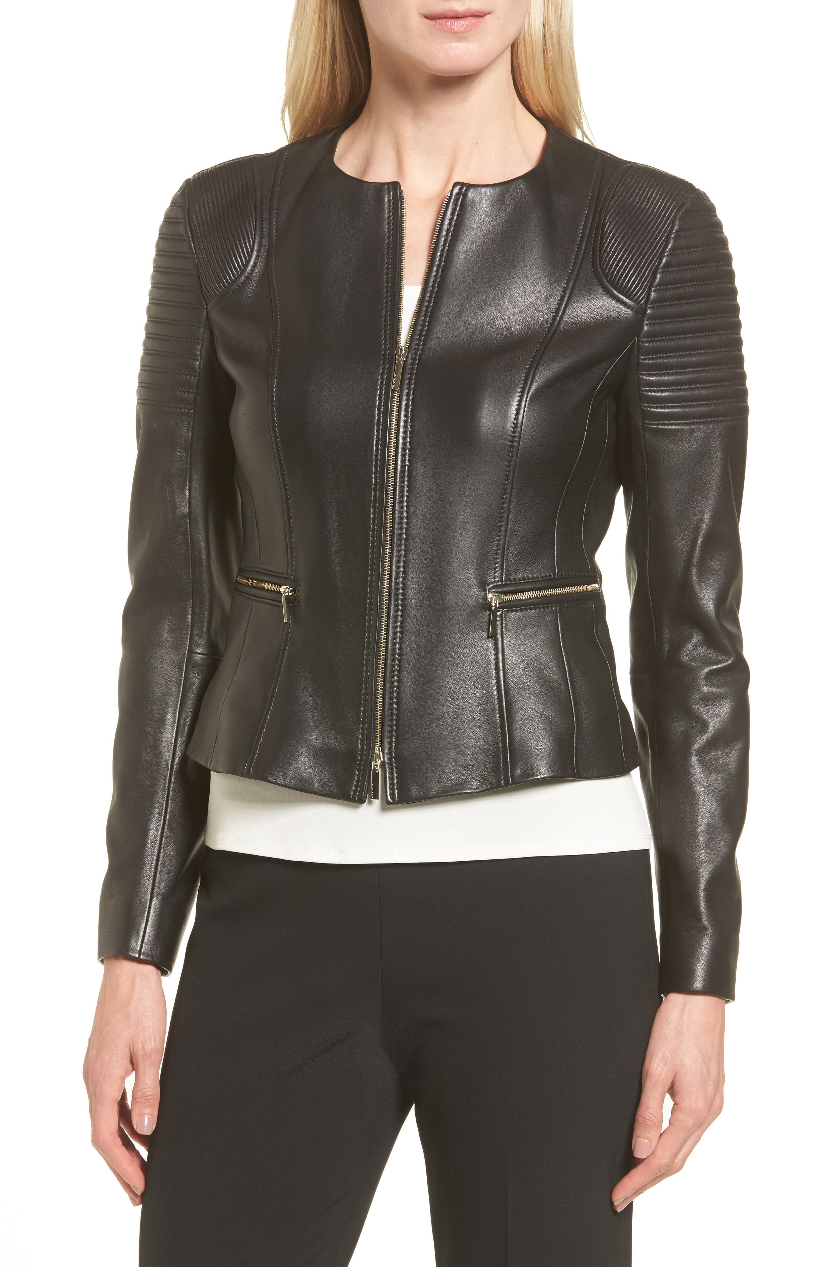 BOSS,                             Sakumaya Leather Jacket,                             Alternate thumbnail 4, color,                             001