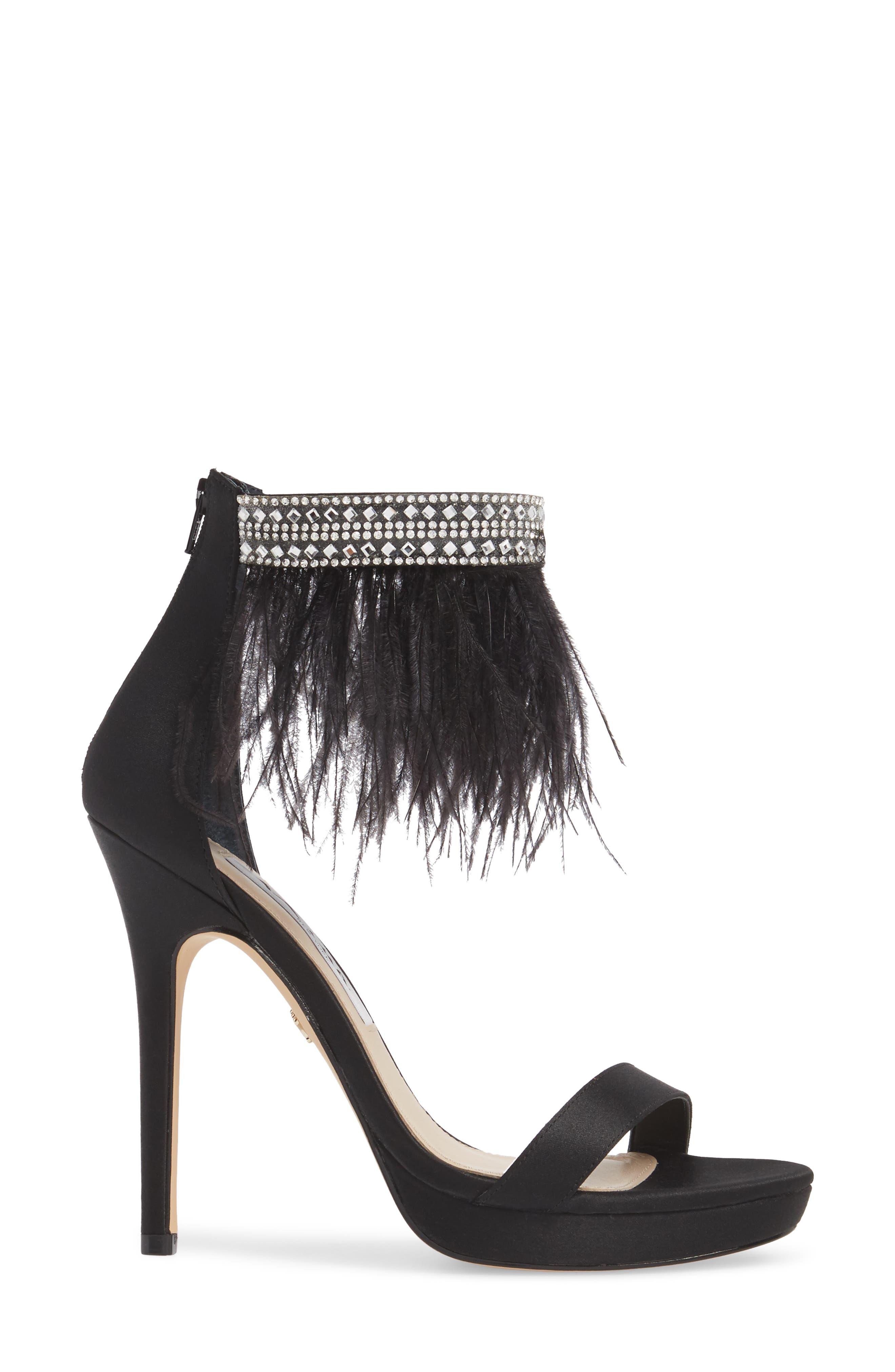 Fran Embellished Feather Sandal,                             Alternate thumbnail 3, color,                             BLACK SATIN