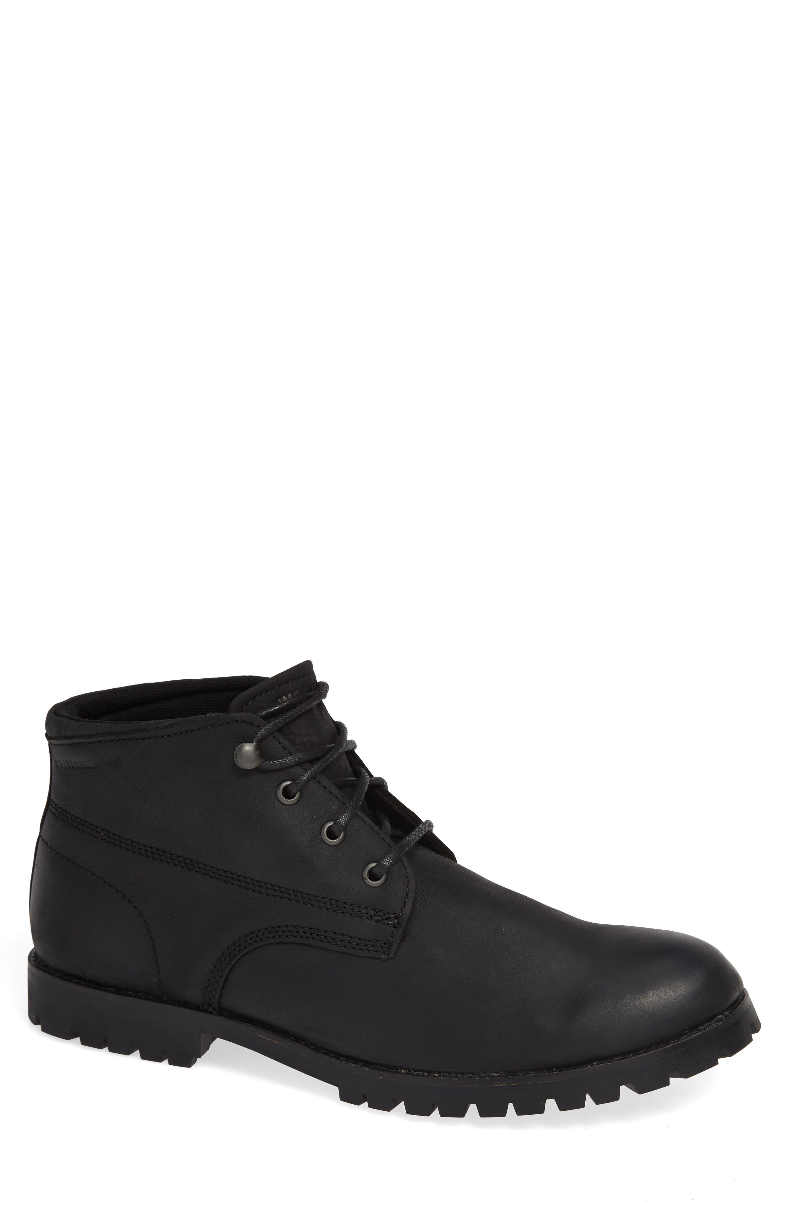WOLVERINE Cort Plain Toe Waterproof Boot, Main, color, MEDIUM BLACK