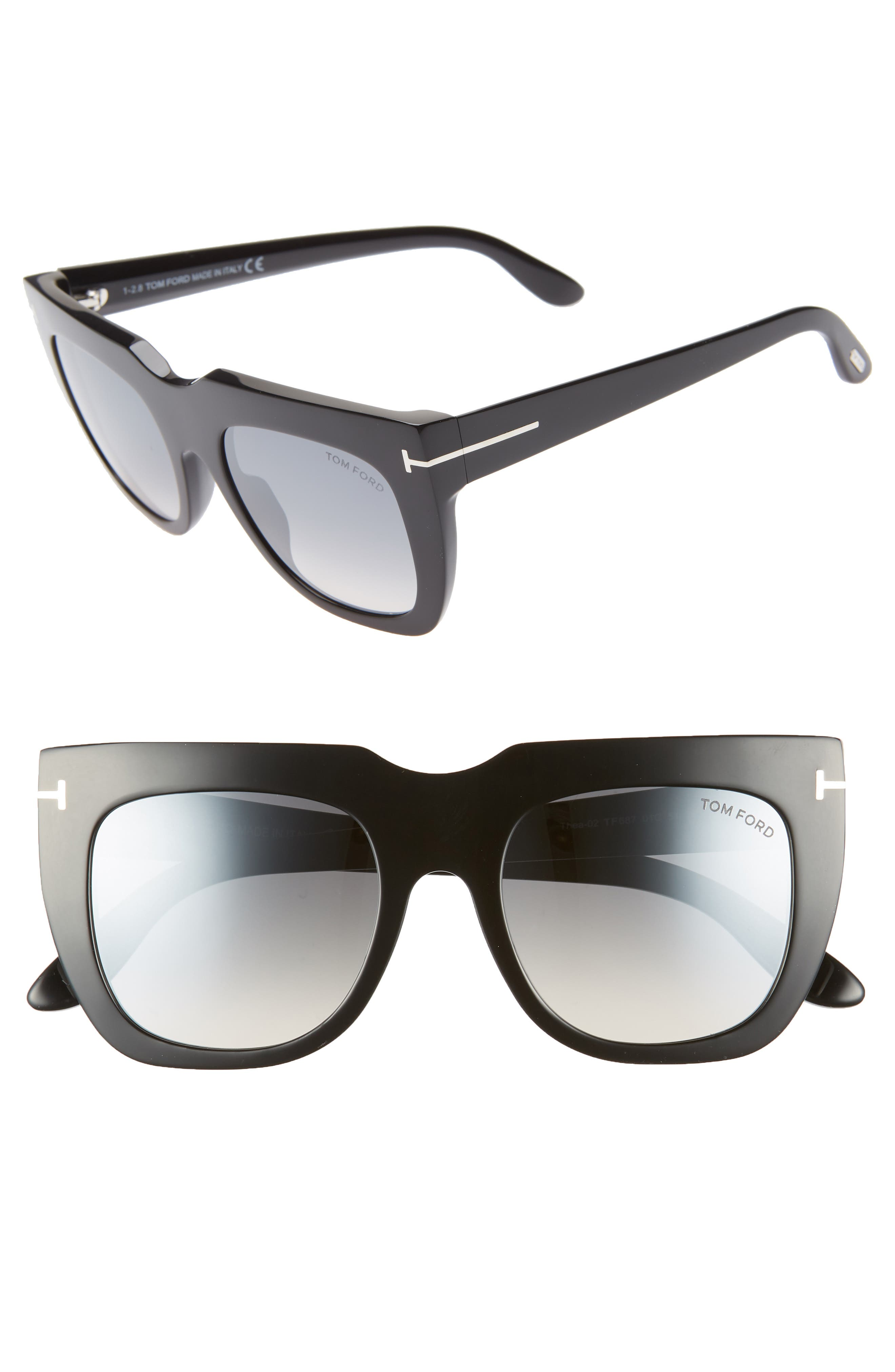 Tom Ford Thea 51Mm Mirrored Cat Eye Glasses - Shiny Black/ Grey W Silver