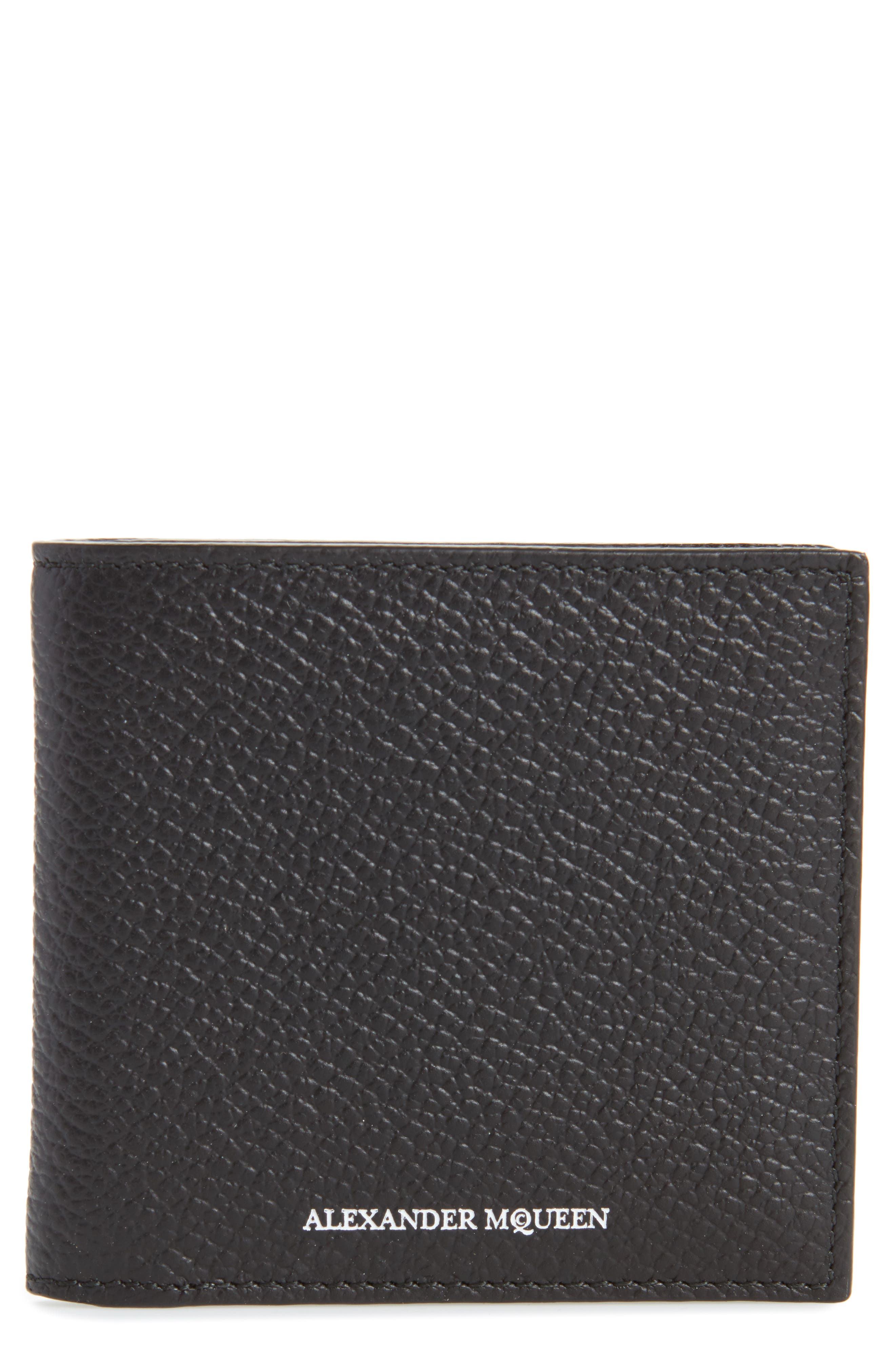 Leather Billfold Wallet,                             Main thumbnail 1, color,                             BLACK