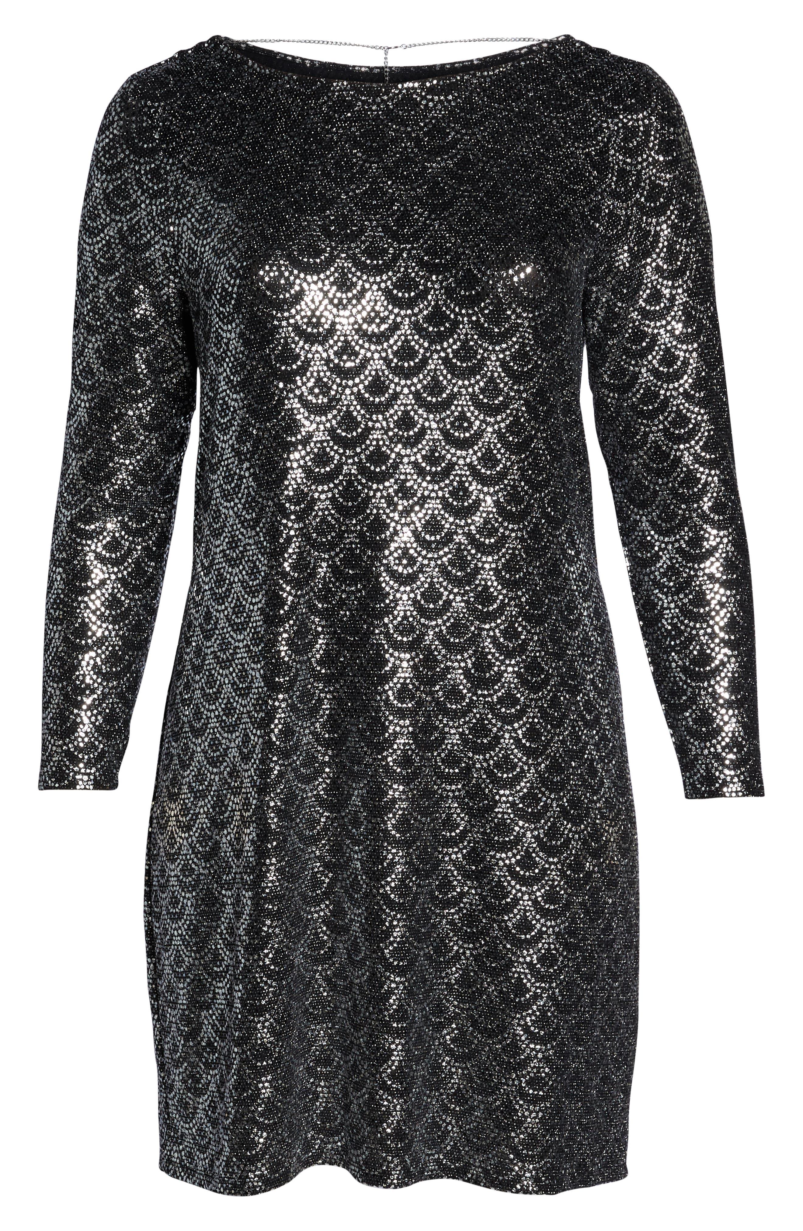 Glitter Knit Shift Dress,                             Alternate thumbnail 7, color,                             001