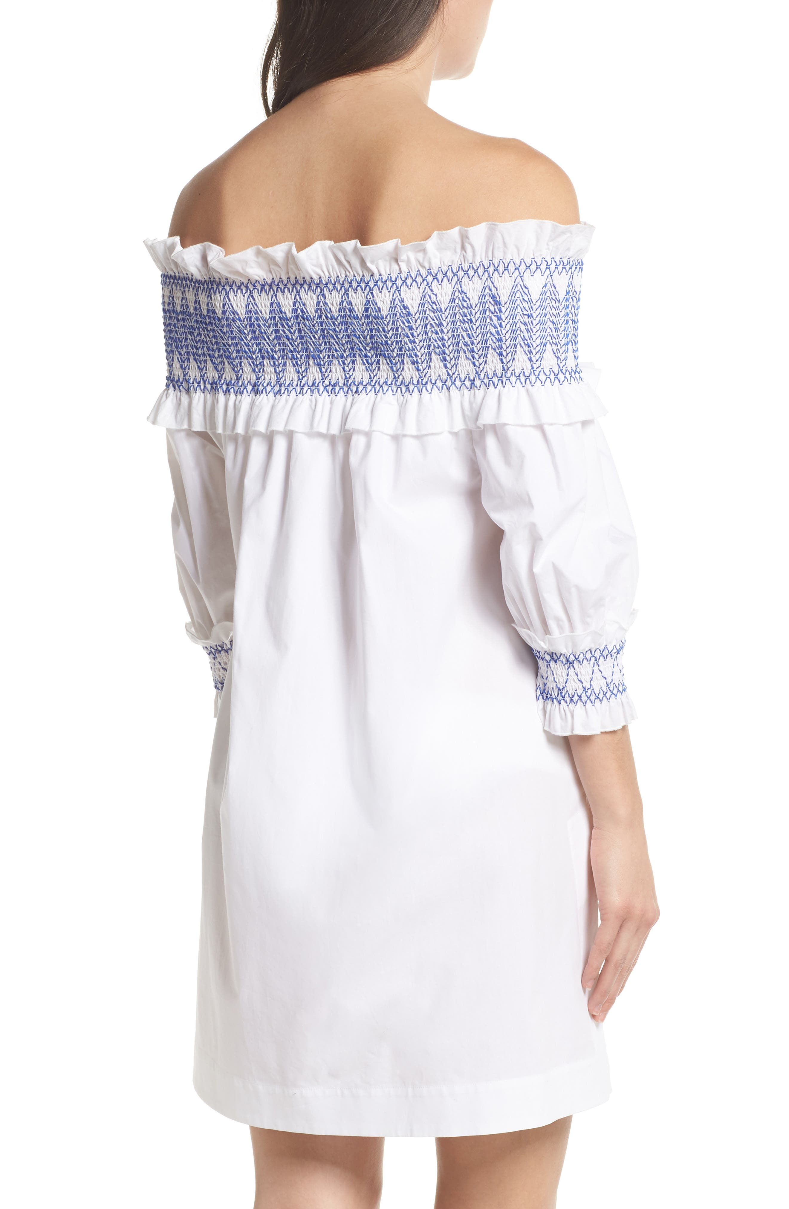 Smocked Cover-Up Dress,                             Alternate thumbnail 2, color,                             110