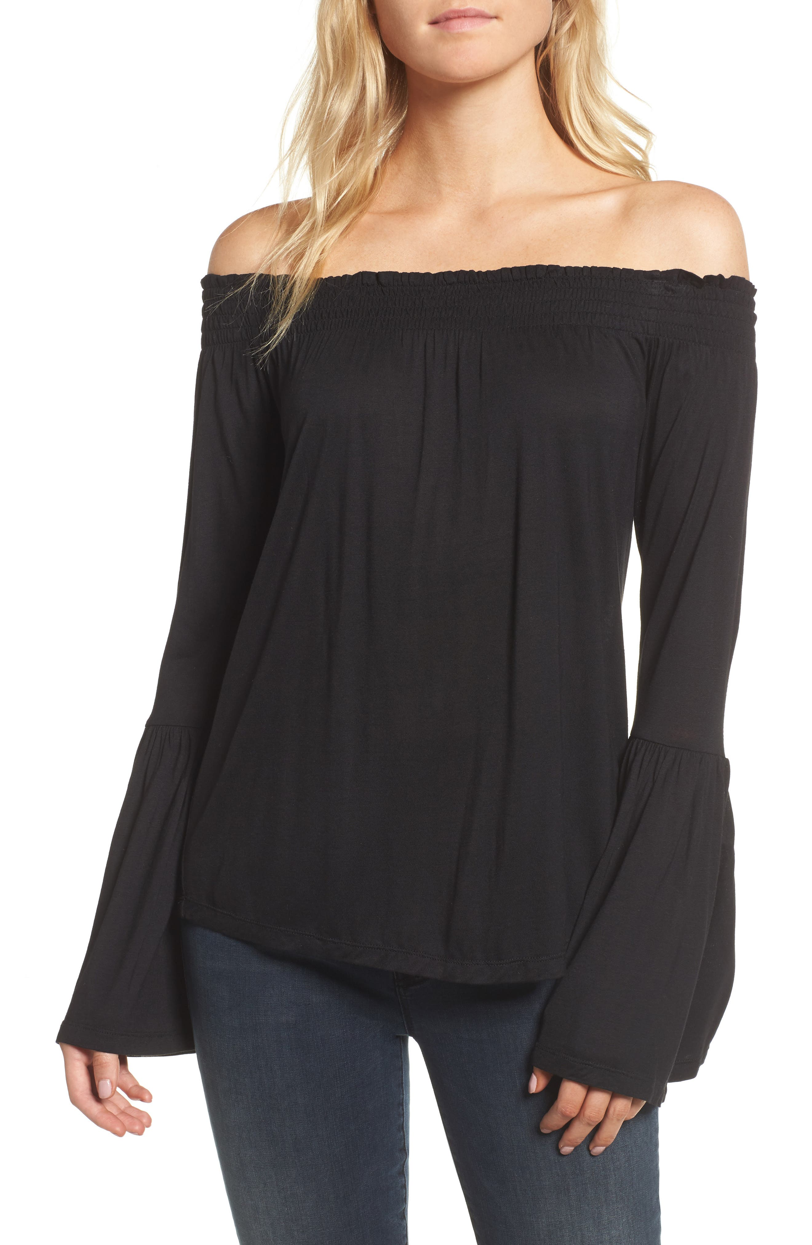Luck Off the Shoulder Top,                             Main thumbnail 1, color,