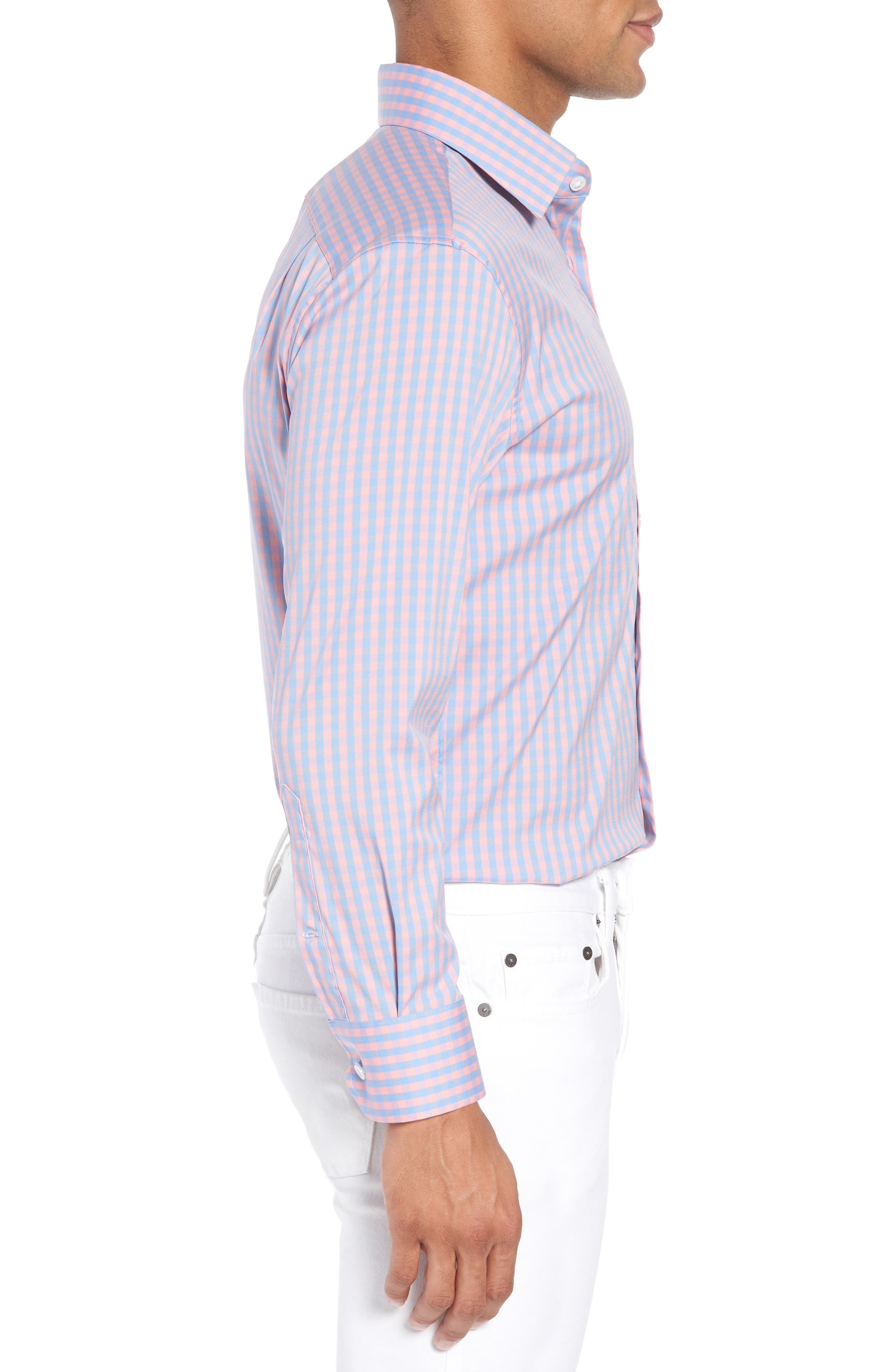 Jetsetter Slim Fit Stretch Check Dress Shirt,                             Alternate thumbnail 4, color,