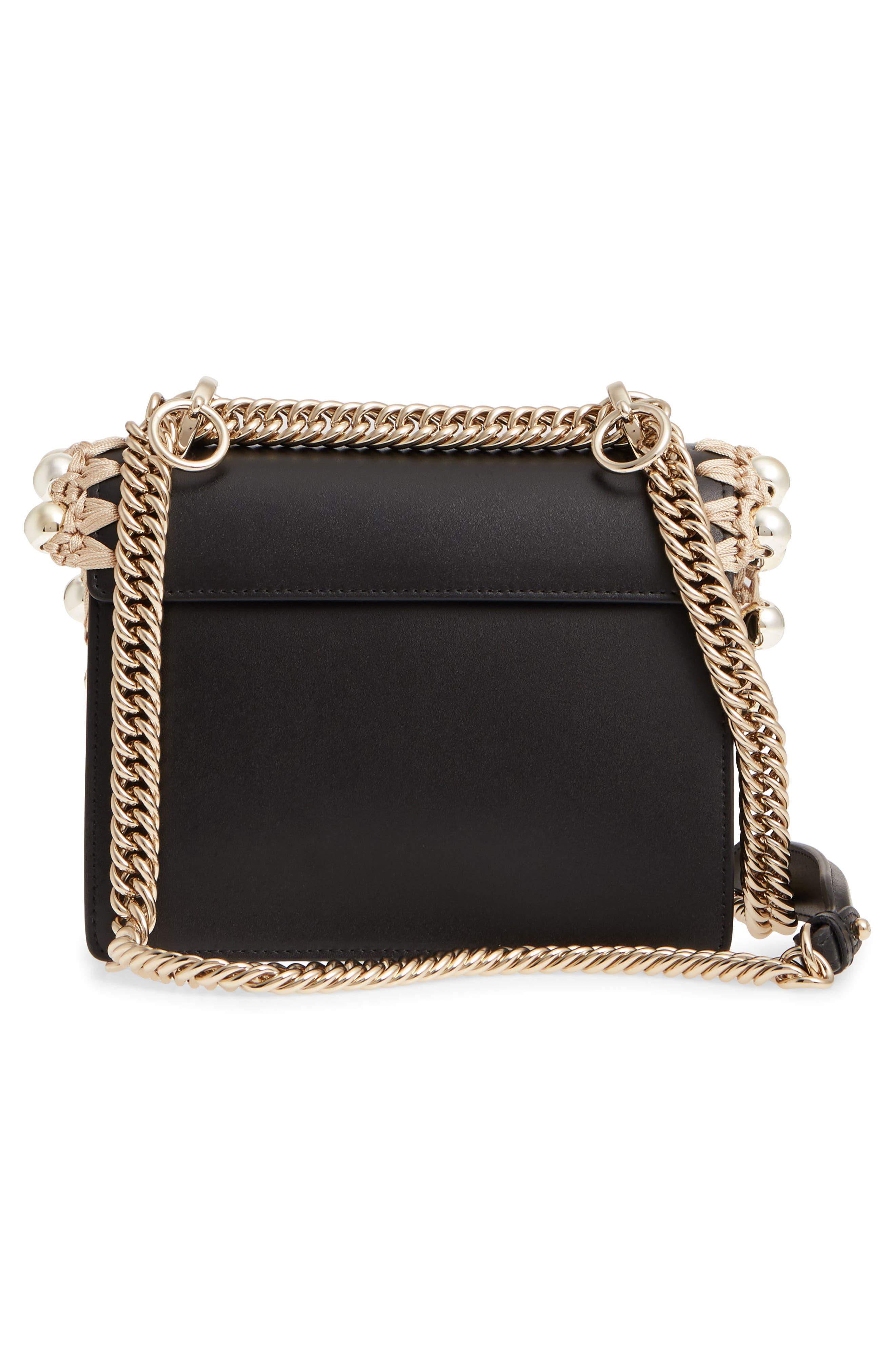 Small Kan I Leather Shoulder Bag,                             Alternate thumbnail 3, color,                             NERO/ ORO/ CHIARO