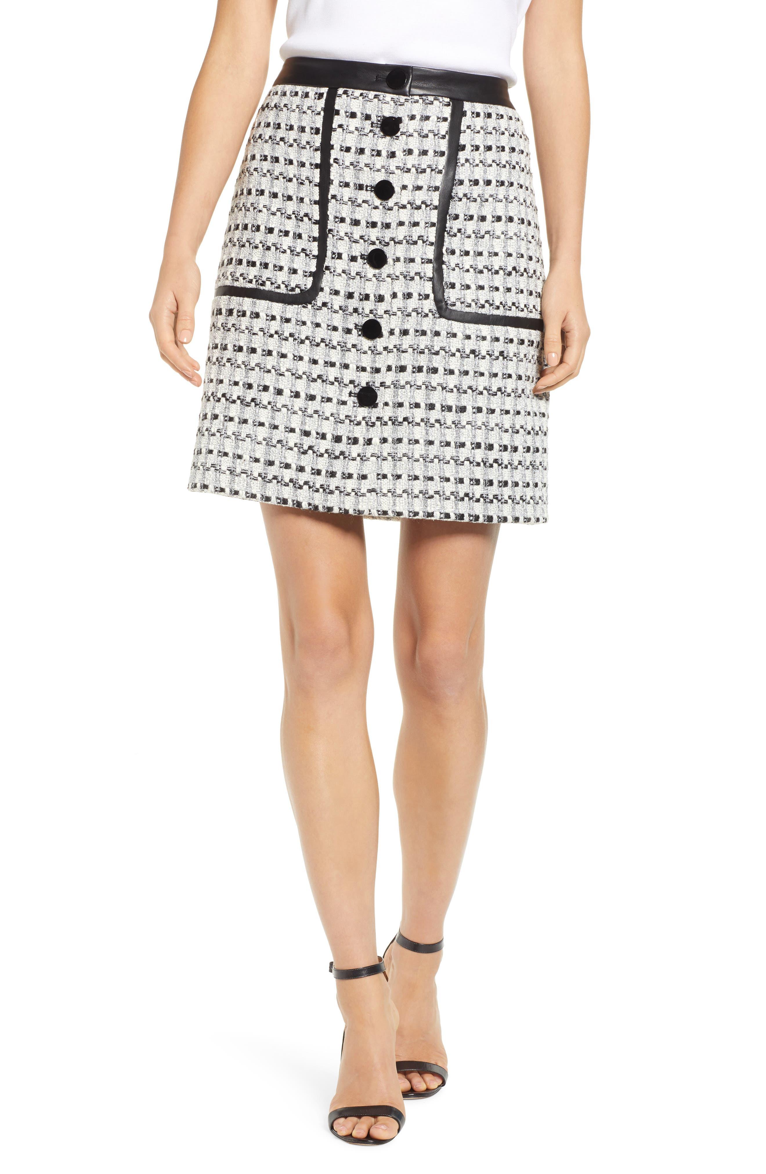 Karl Lagerfeld Paris Tweed Front Button Skirt, White