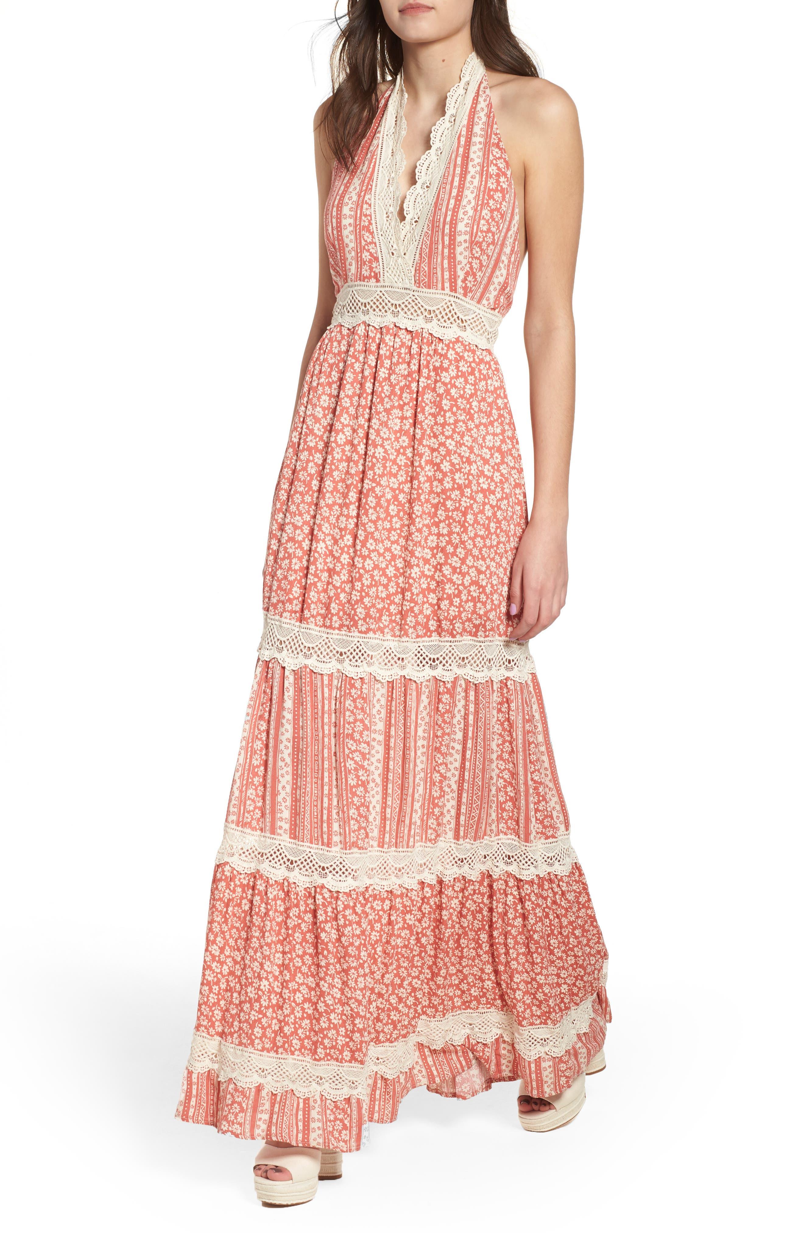 Sun's Out Halter Maxi Dress,                             Main thumbnail 1, color,                             951