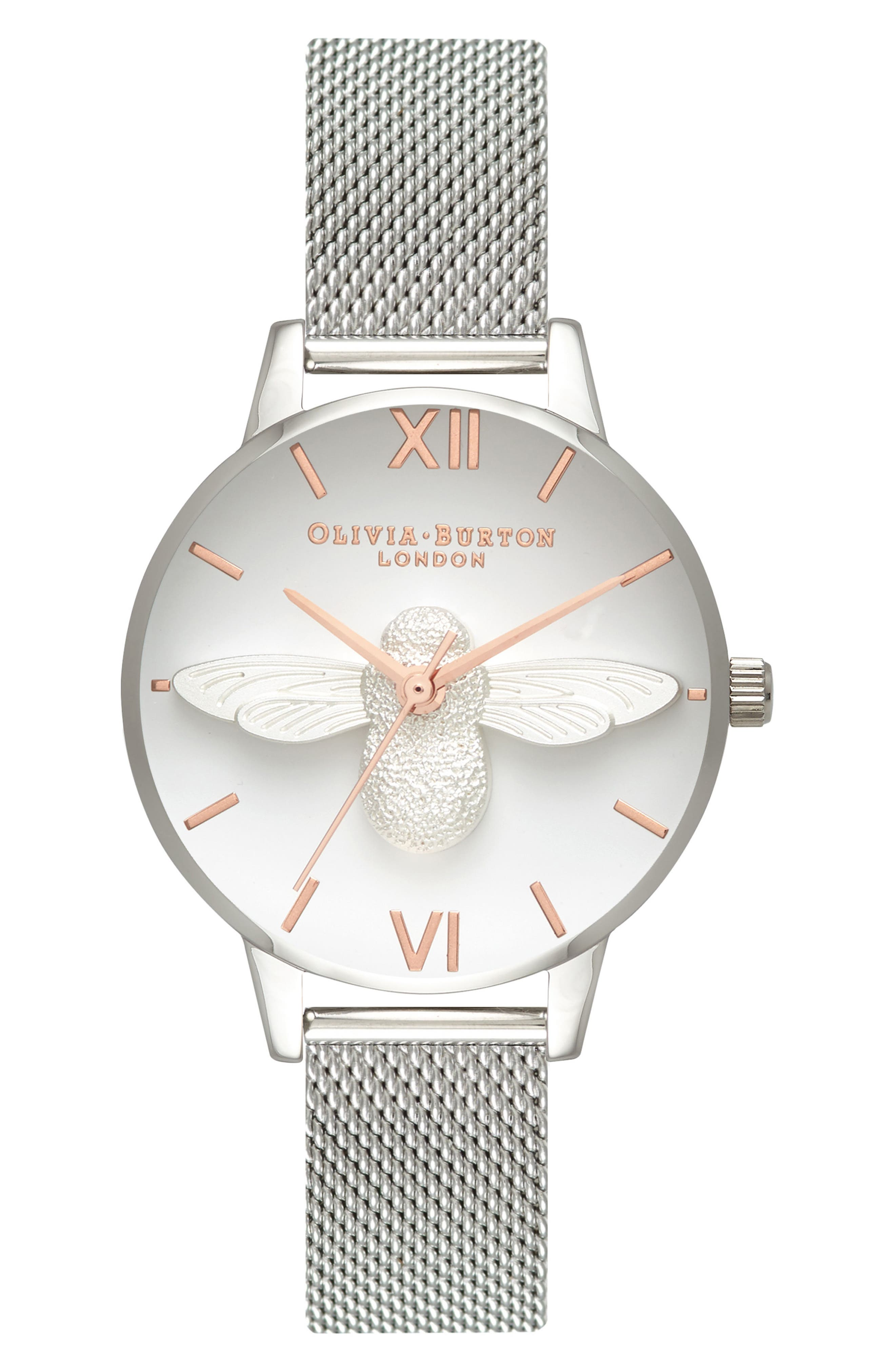 Bee Mesh Strap Watch, 30mm,                         Main,                         color, SILVER/ BEE/ SILVER