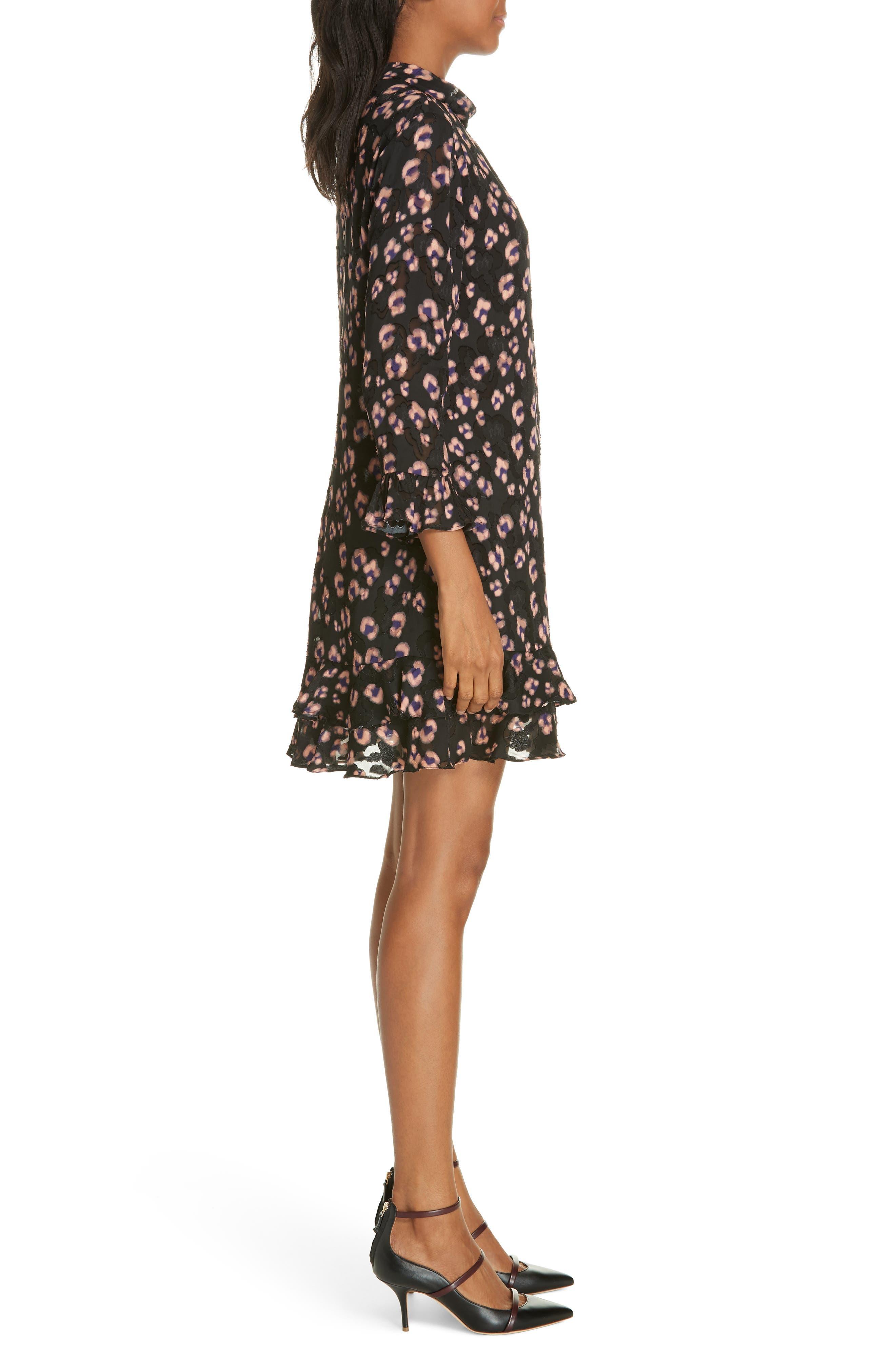 Cheetah Print Silk Dress,                             Alternate thumbnail 3, color,                             COPPER COMBO