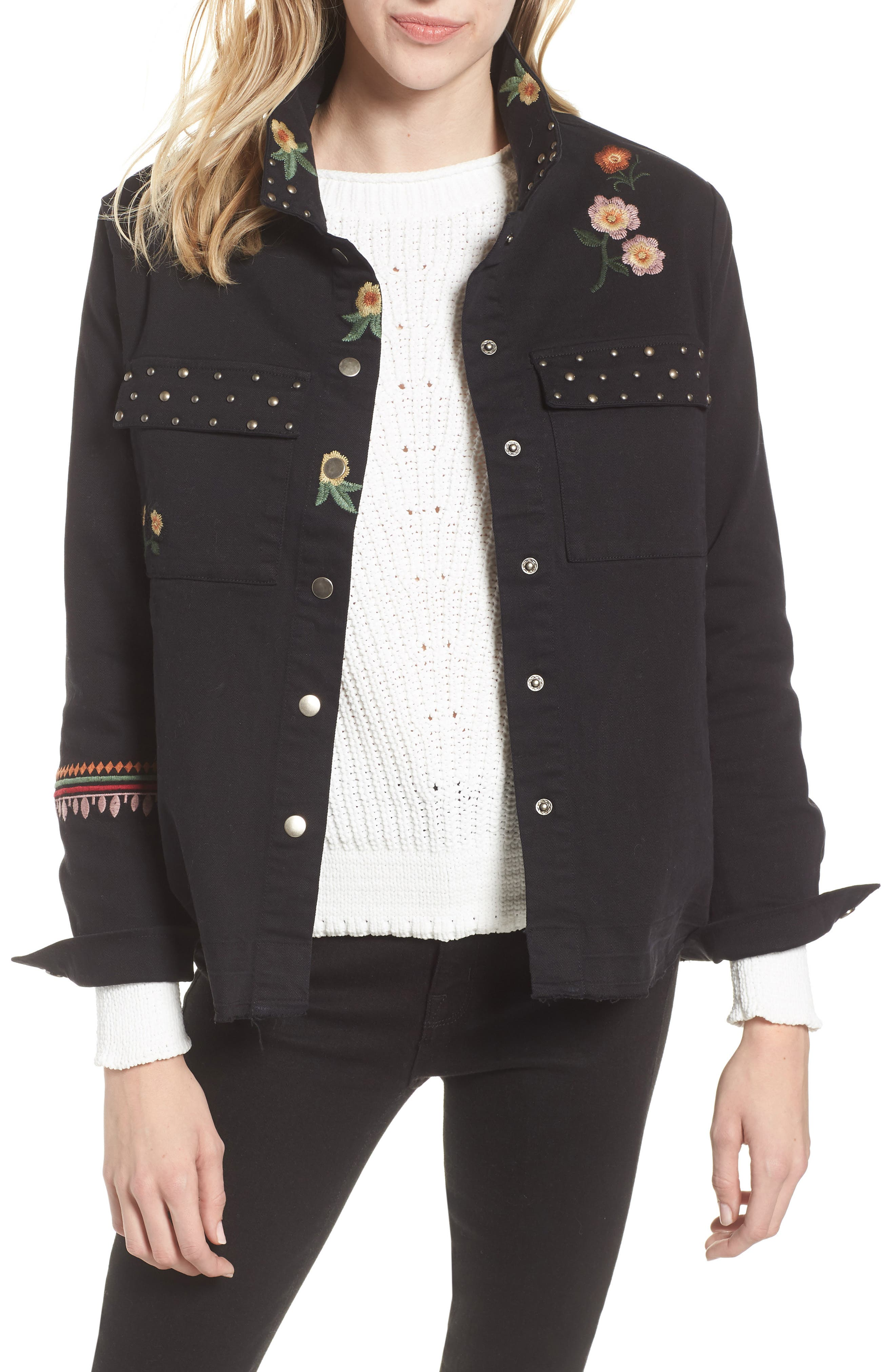 BILLY T Embroidery Stud Detail Cotton Twill Jacket in Black