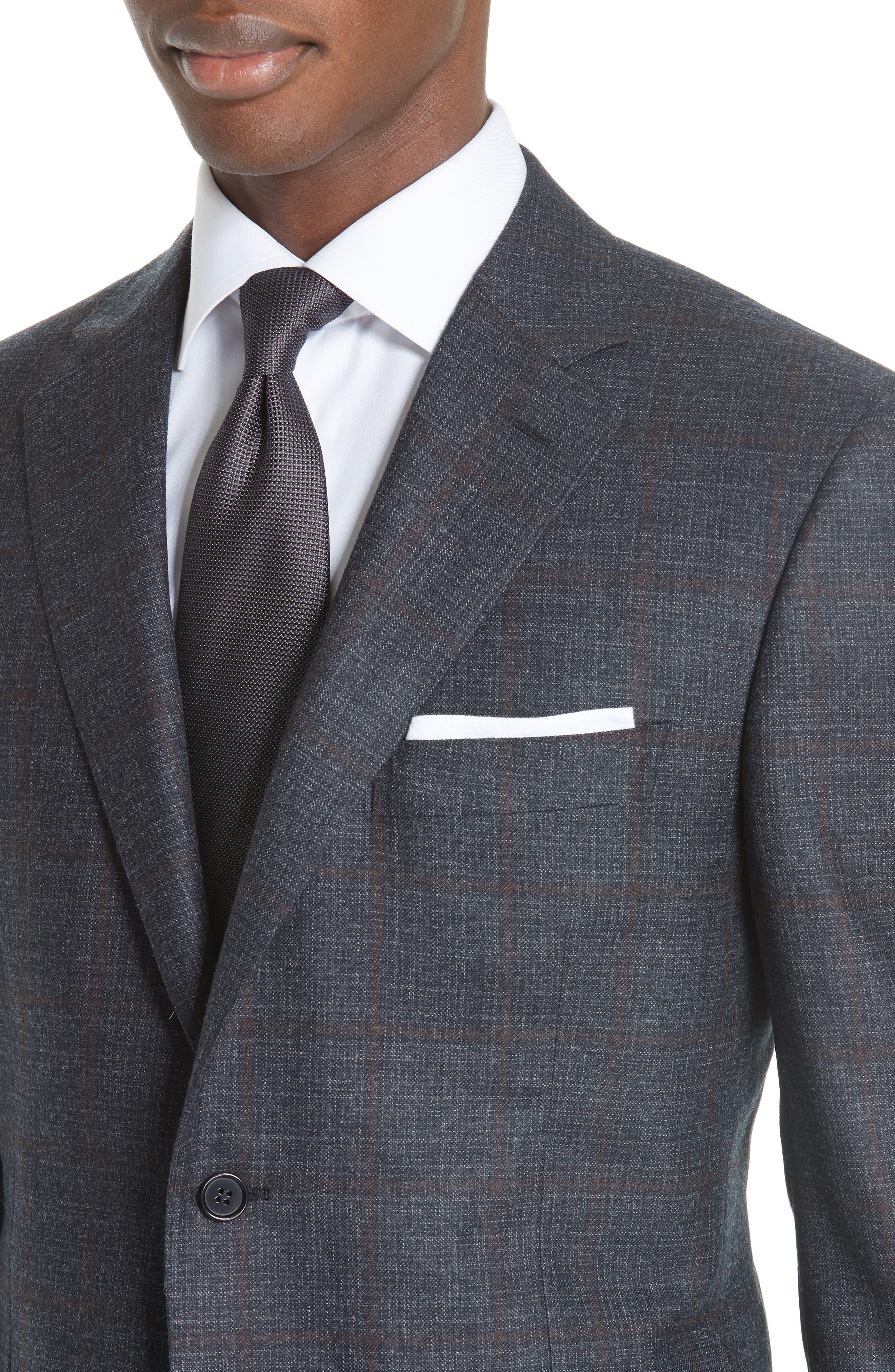 Classic Fit Plaid Wool Sport Coat,                             Alternate thumbnail 4, color,                             CHARCOAL