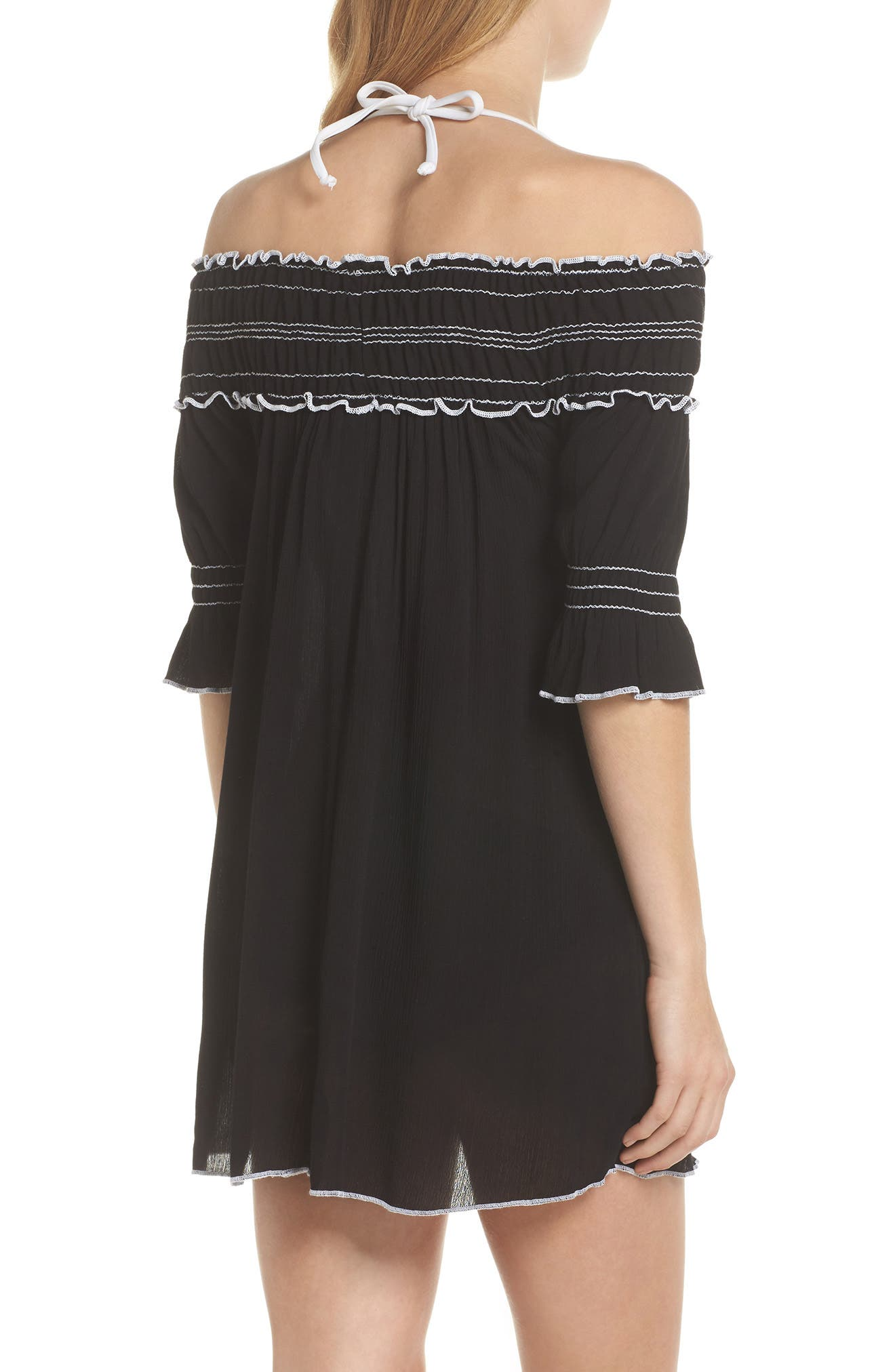 Nightingale Off the Shoulder Cover-Up Dress,                             Alternate thumbnail 2, color,                             001